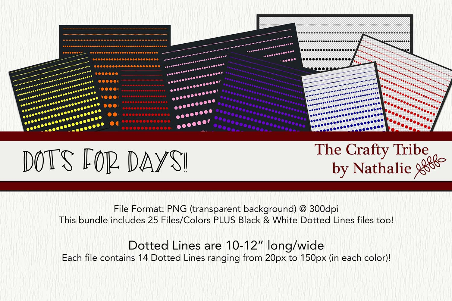 Dots For Days PNG Dotted Lines Dividers 25 Colors 14 Sizes example image 1