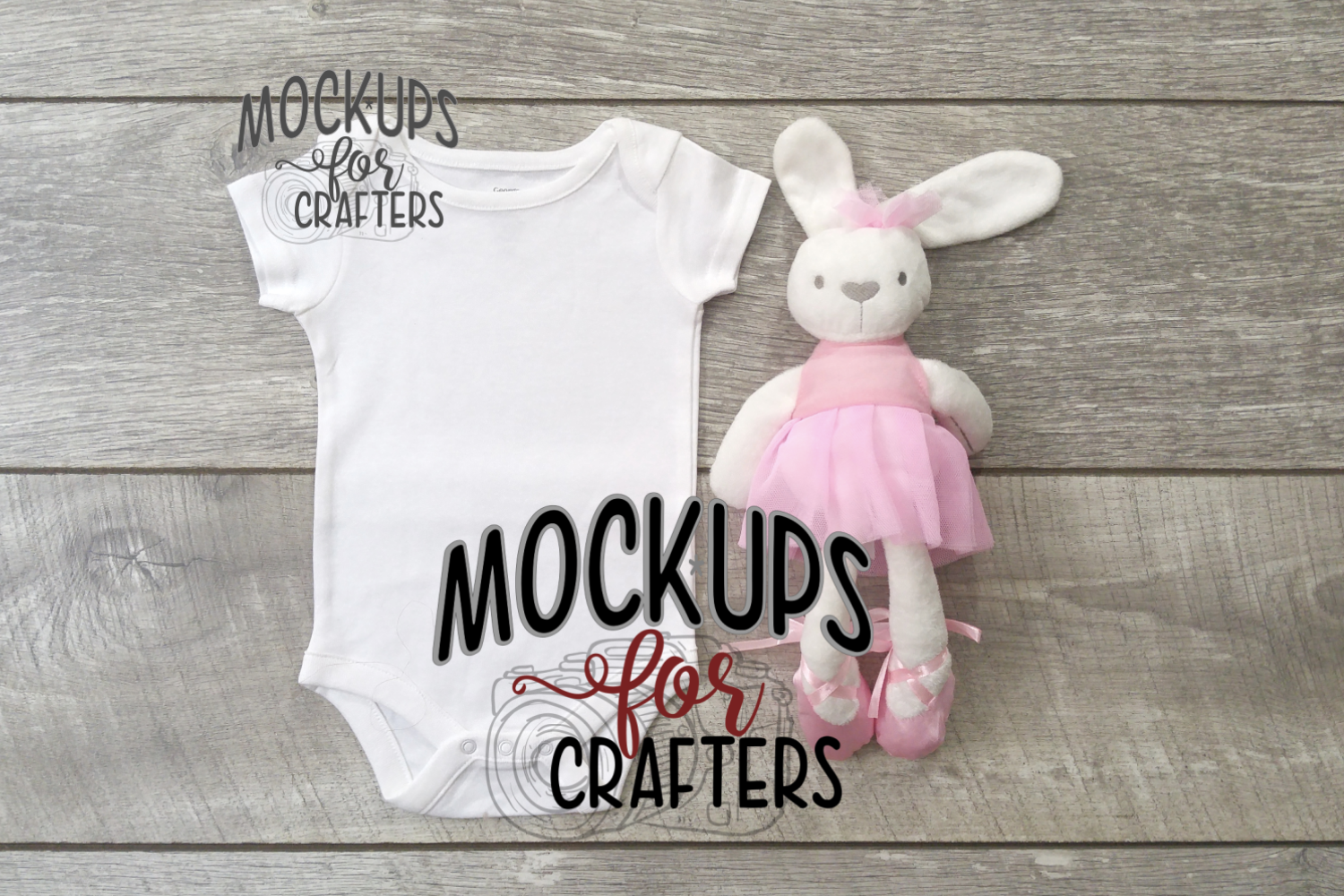 MOCK-UP - White one-piece baby outfit with popular bunny example image 1