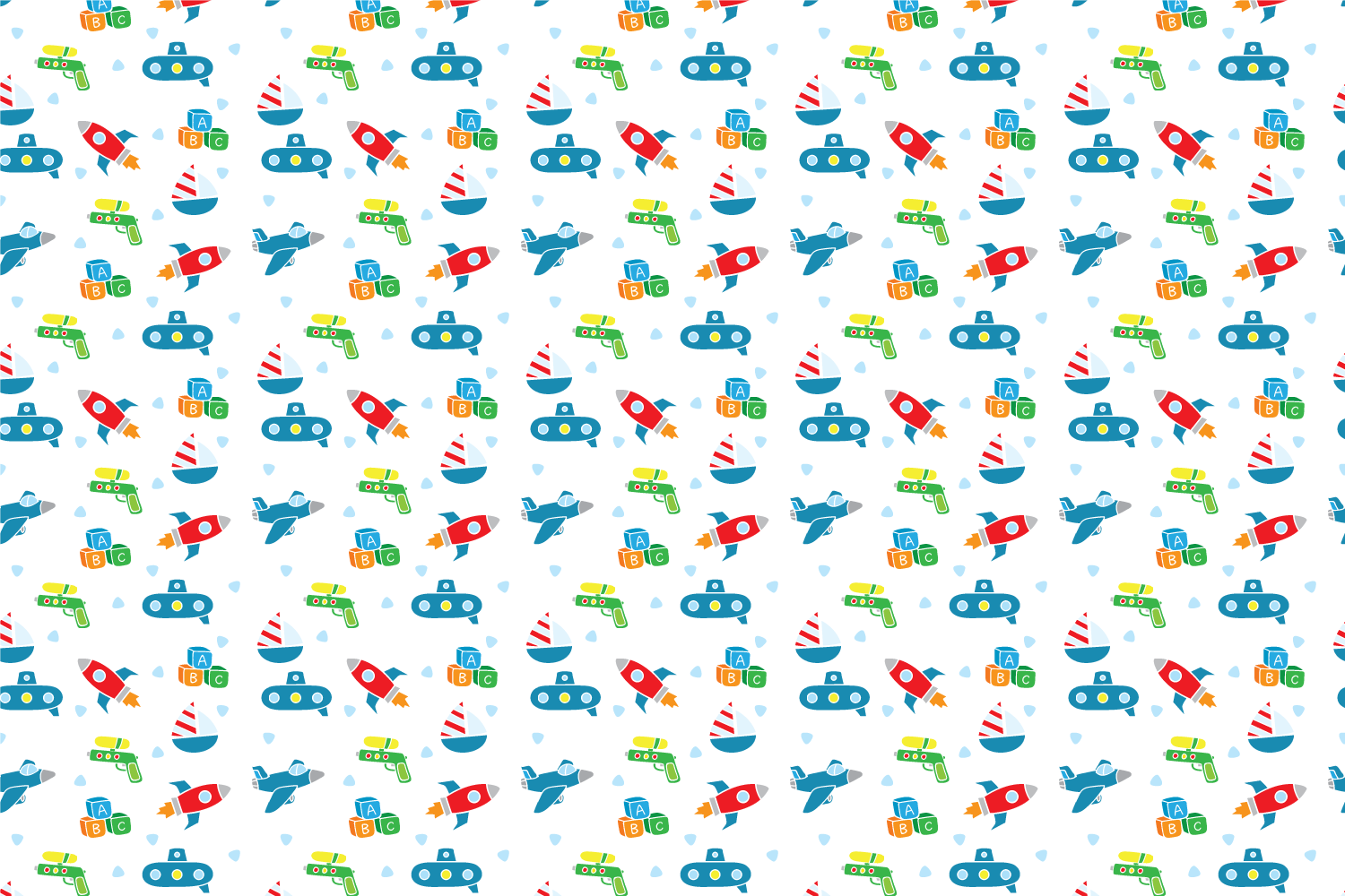 Cute baby toys seamless pattern example image 8