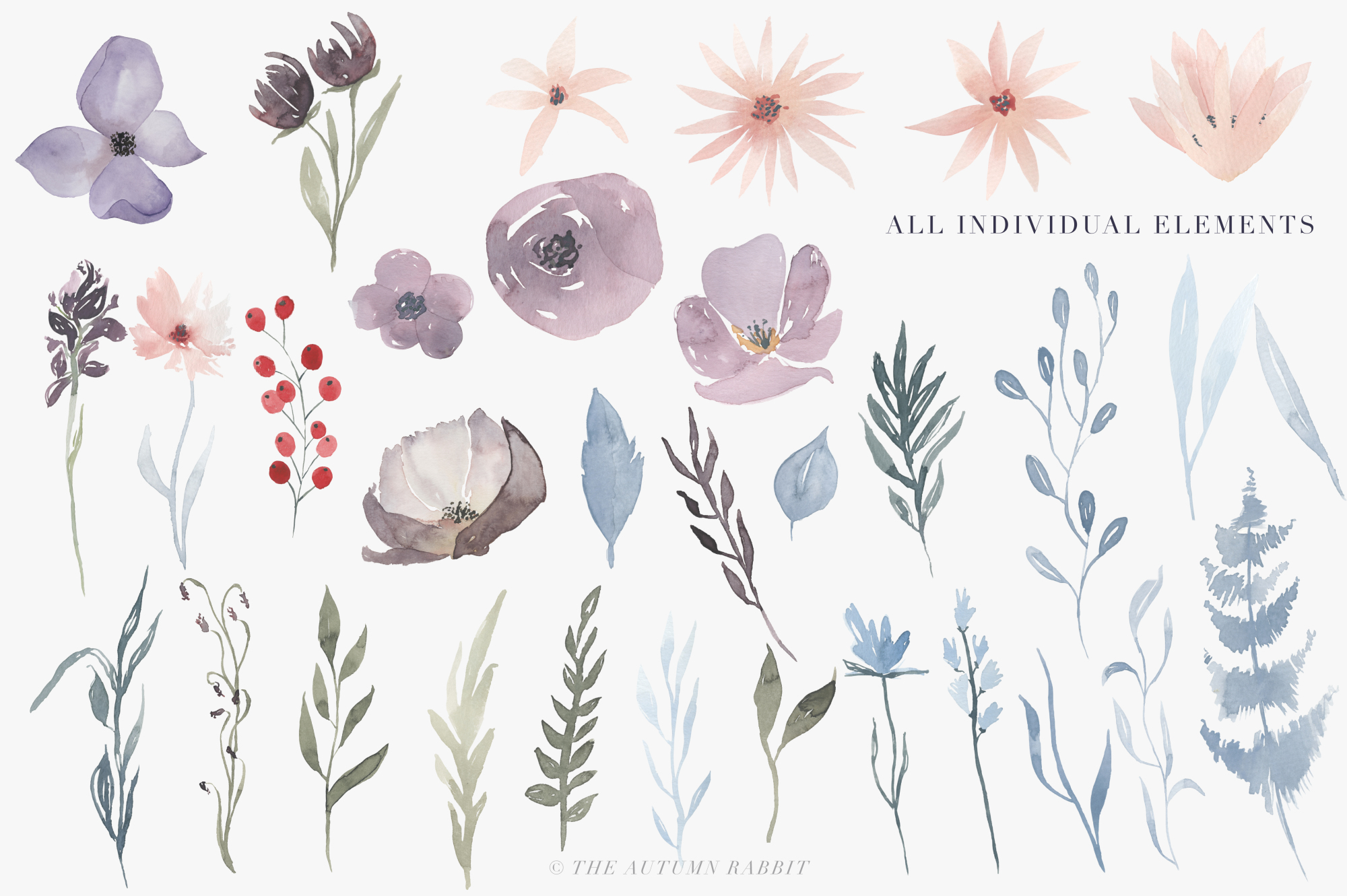 Watercolor Floral Clipart - Hazy Fields example image 5