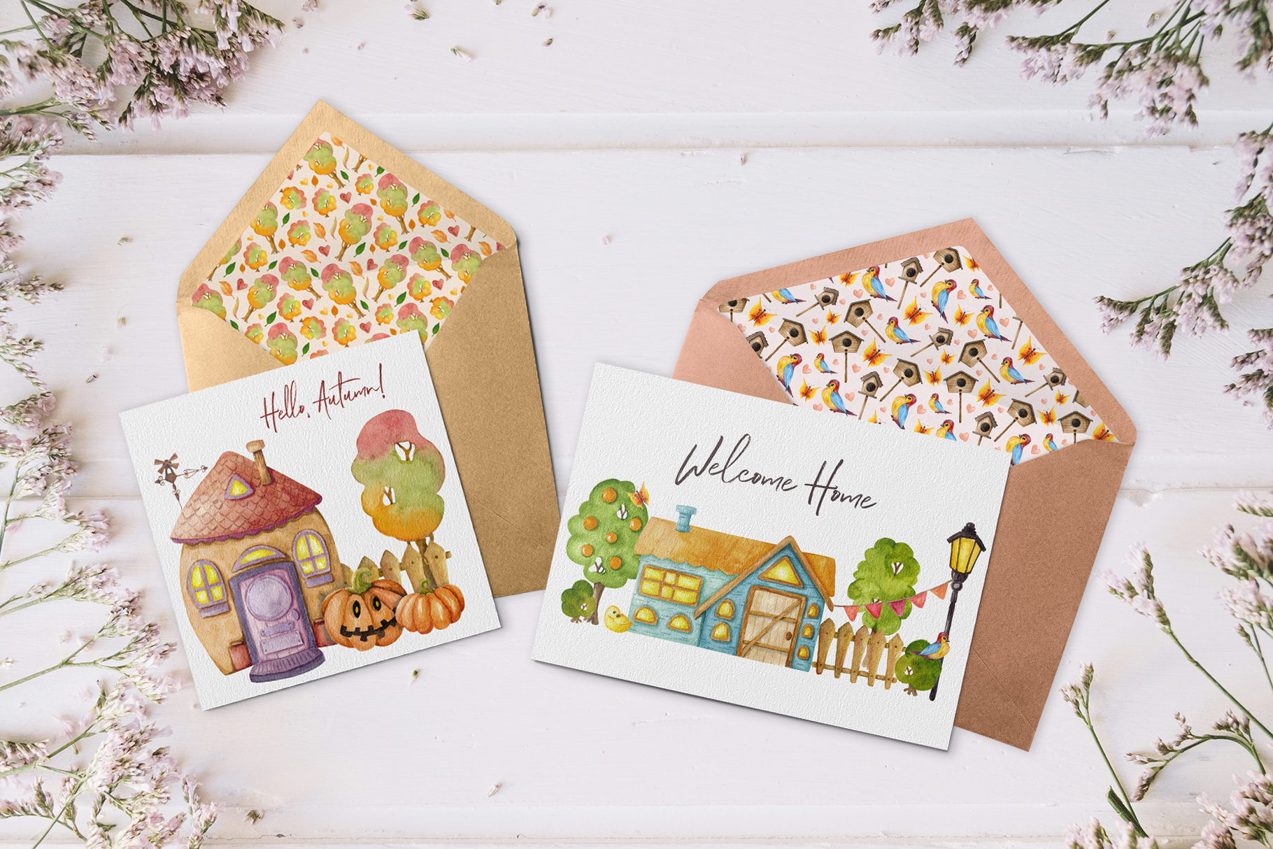 4 Seasons - Watercolor Houses example image 12