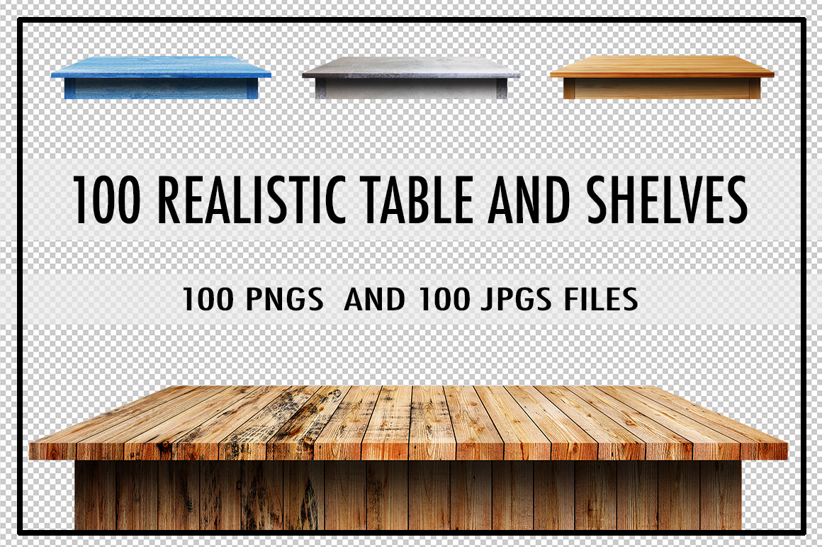 100 Realistic Table & Shelves  example image 1