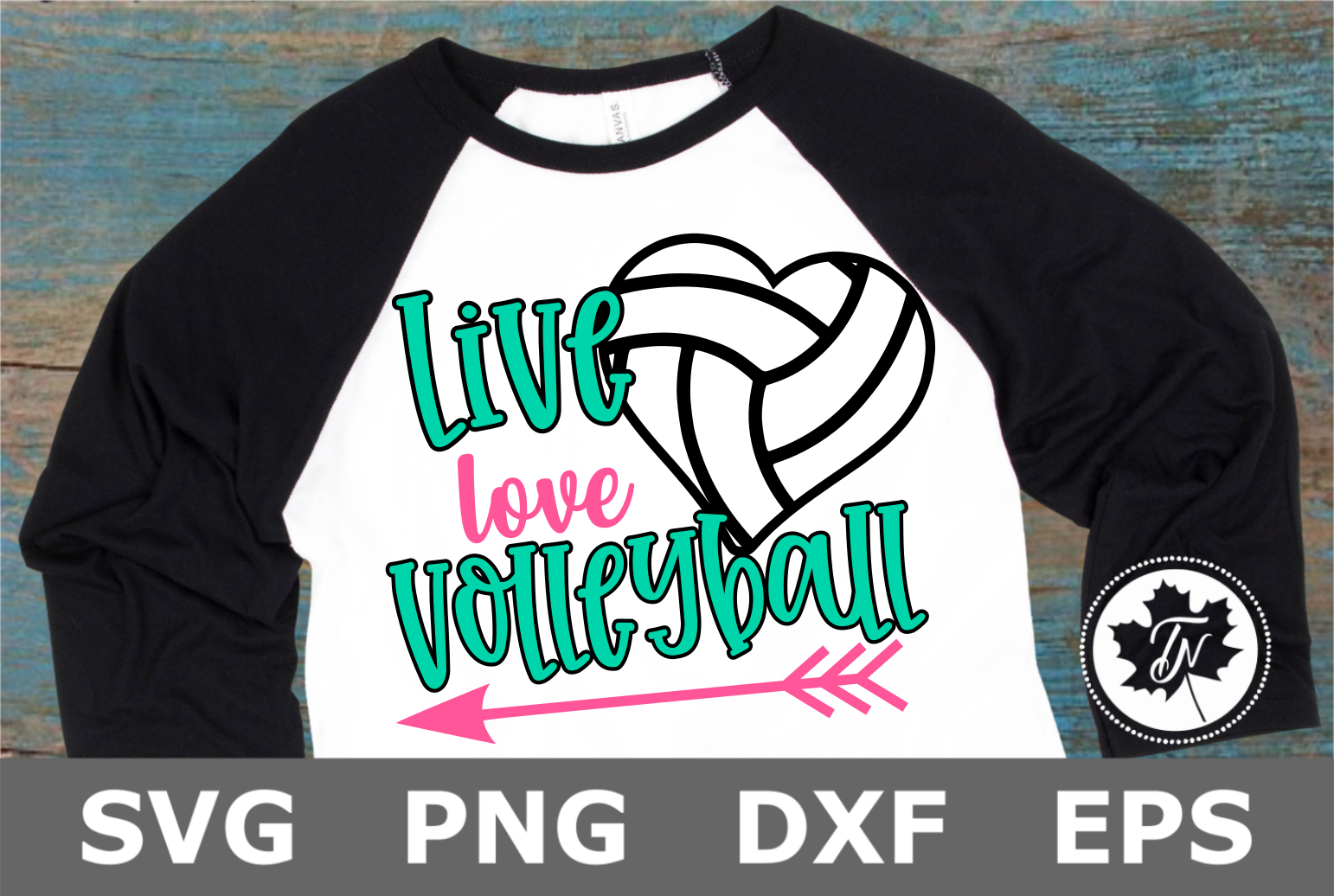 Live Love Volleyball Heart- A Sports SVG Cut File example image 1