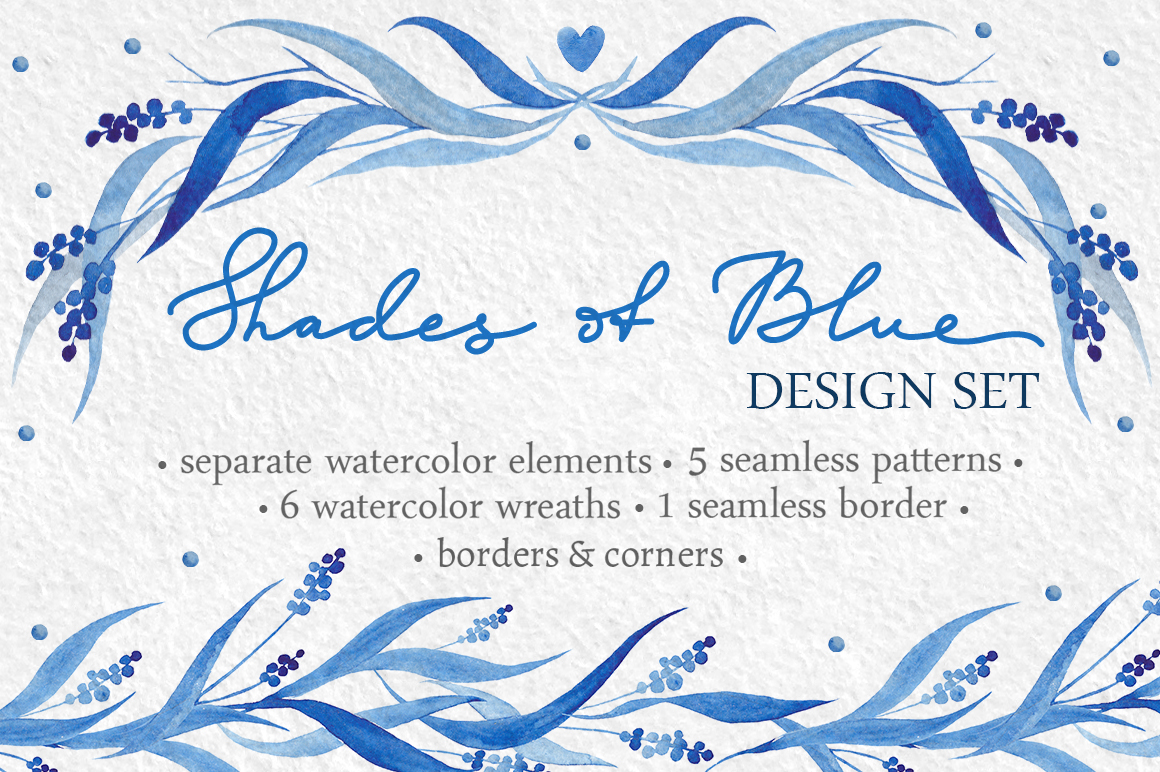 Watercolor design set in blue tones example image 1