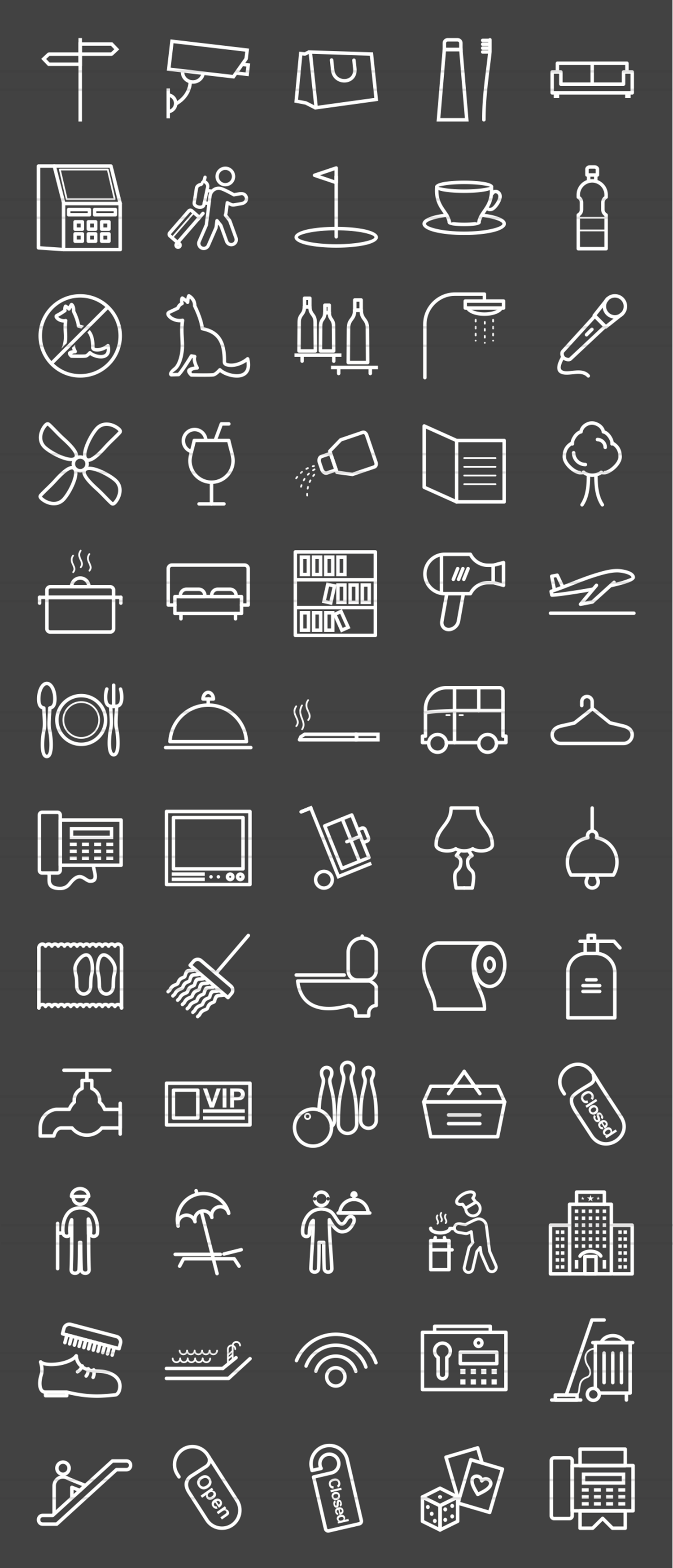 60 Hotel & Restaurant Line Inverted Icons example image 2