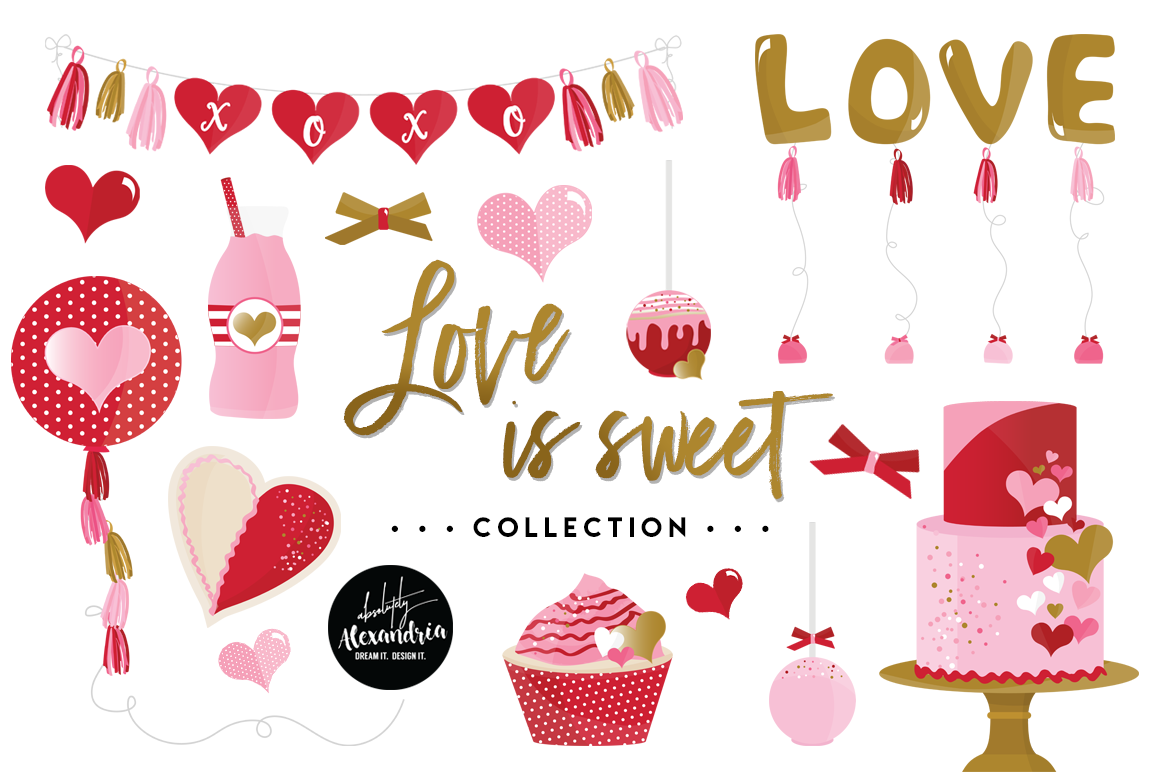 Love Is Sweet Clipart Graphics & Digital Paper Patterns Bundle example image 1