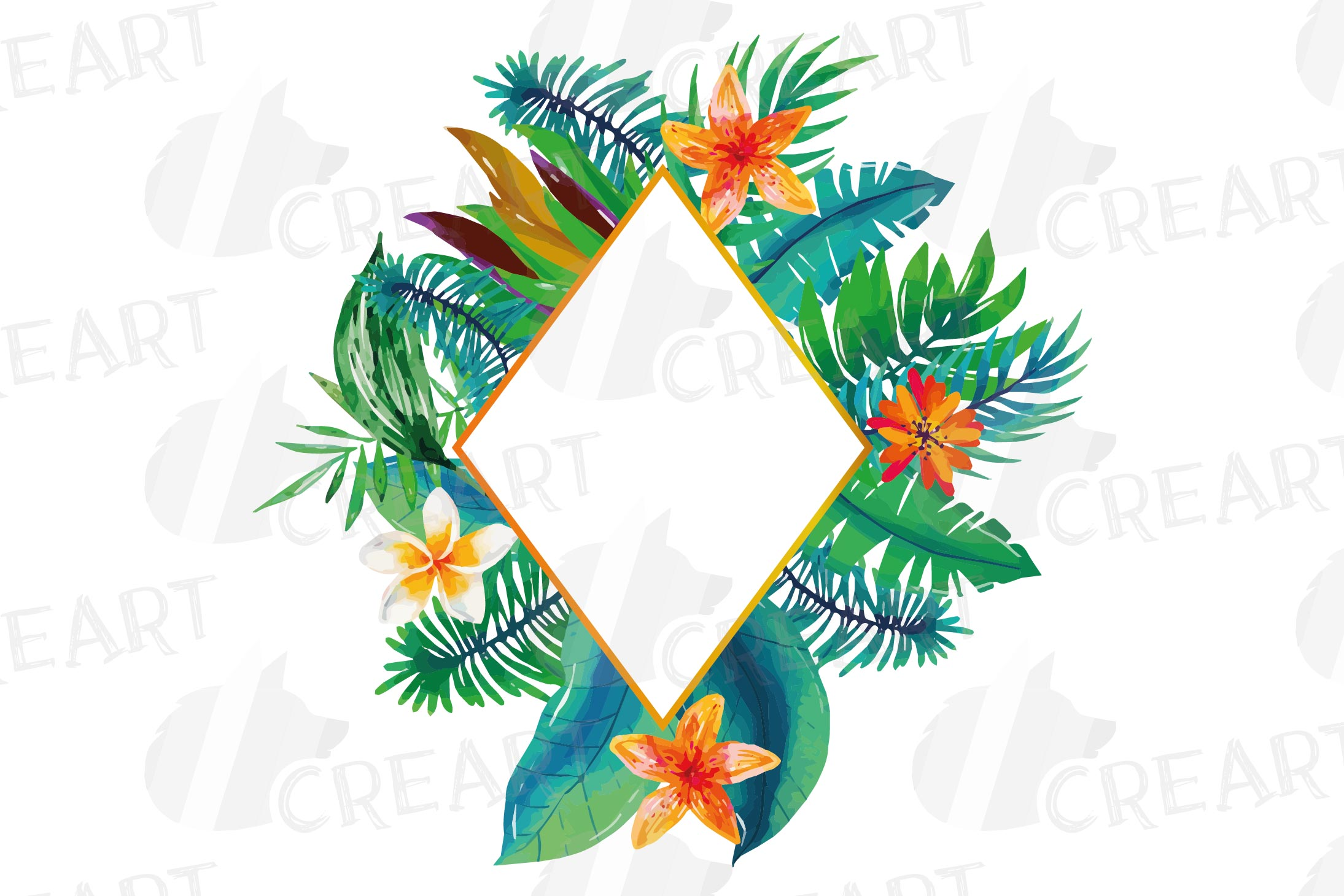 Watercolor tropical navy blue and green exotic floral frames example image 16