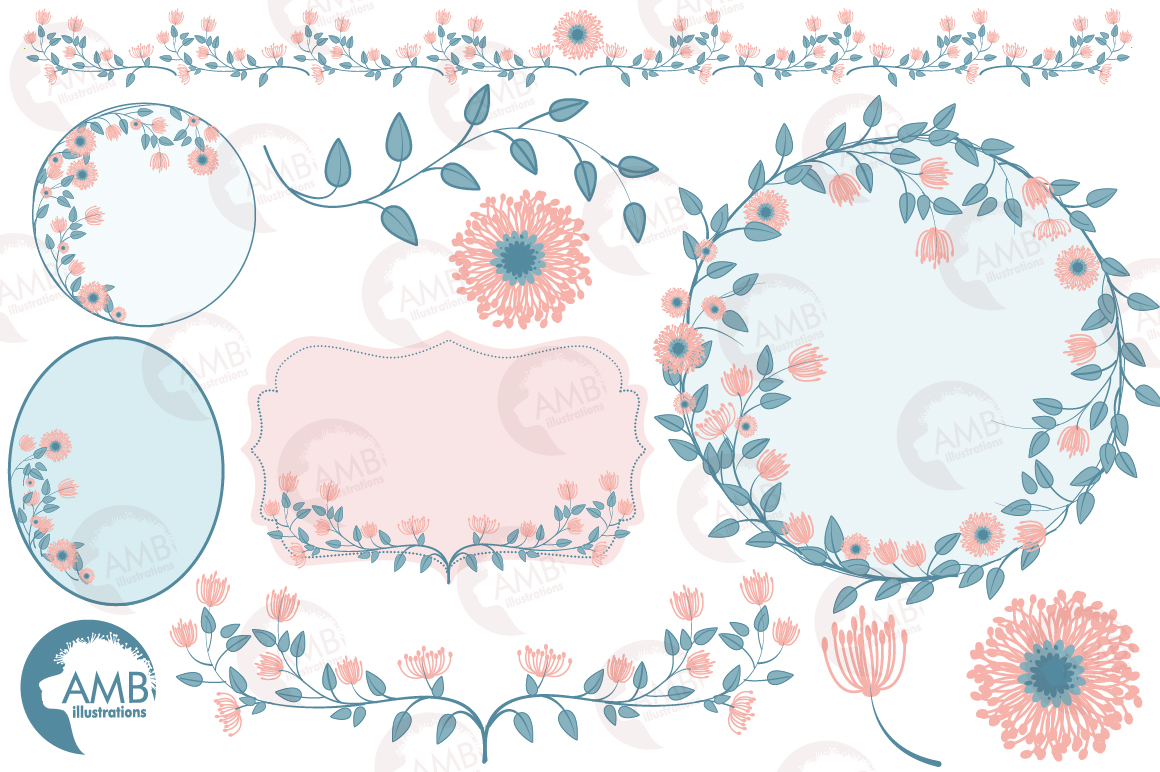 Floral graphics and illustrations, bridal Shower clipart example image 5