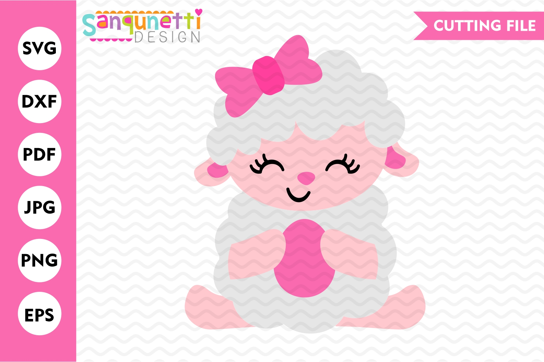 Girl Easter Lamb SVG, Spring lamb cutting file example image 1