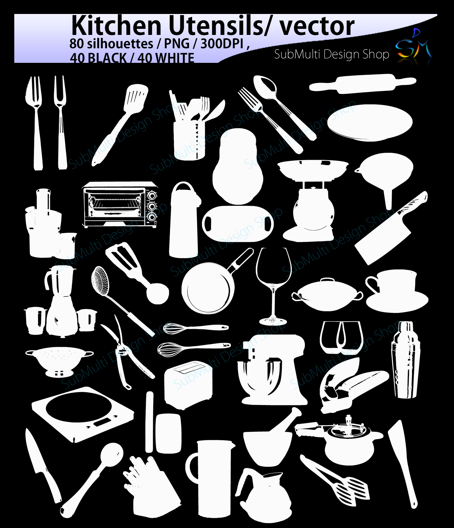 Kitchen Utensils silhouette svg / Kitchen Utensils clipart / Kitchen Utensil for scrapbook and card making /vector / EPS / PNG / craft files example image 3