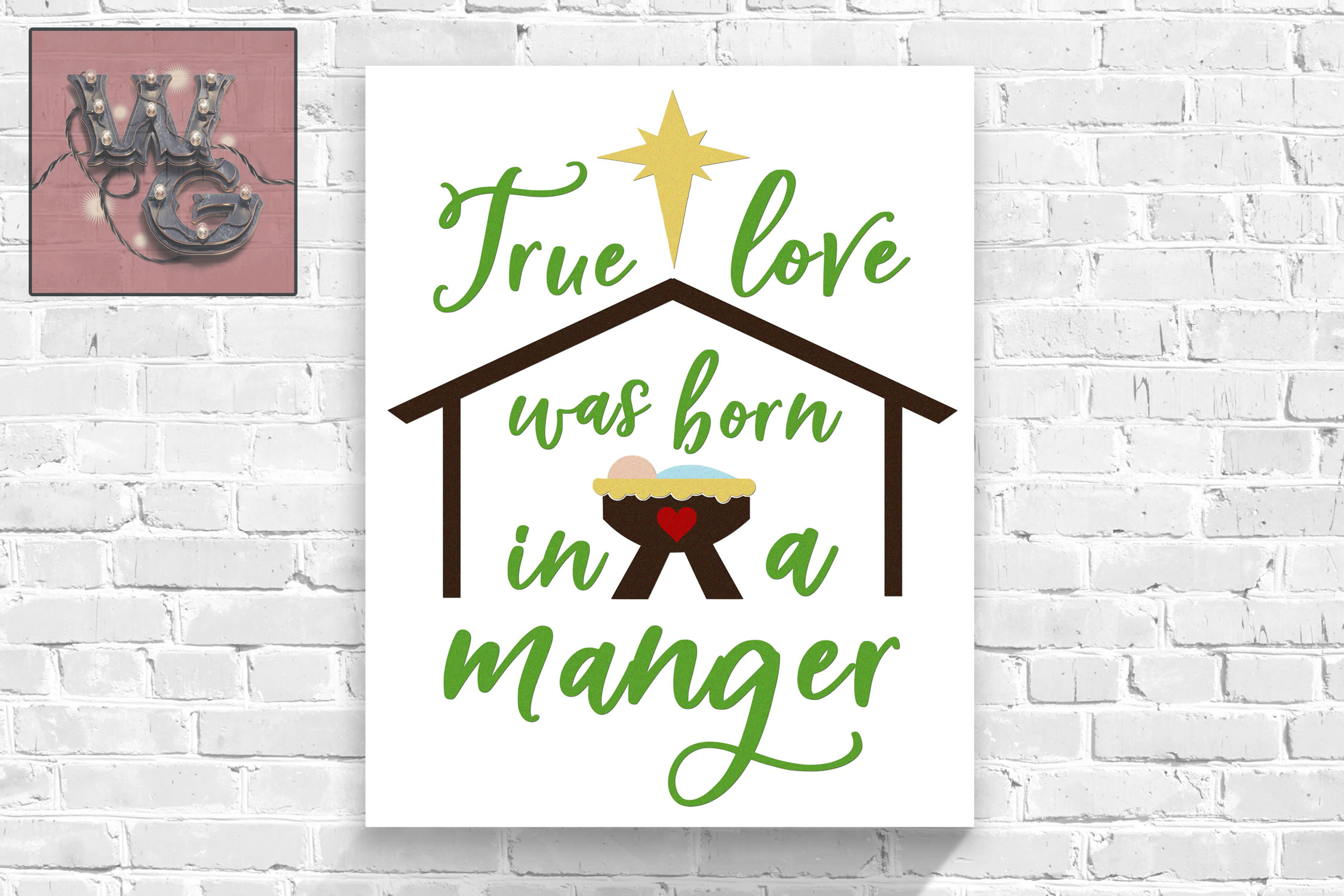 True Love Was Born In a Manger SVG DXF PNG JPG Comm example image 1