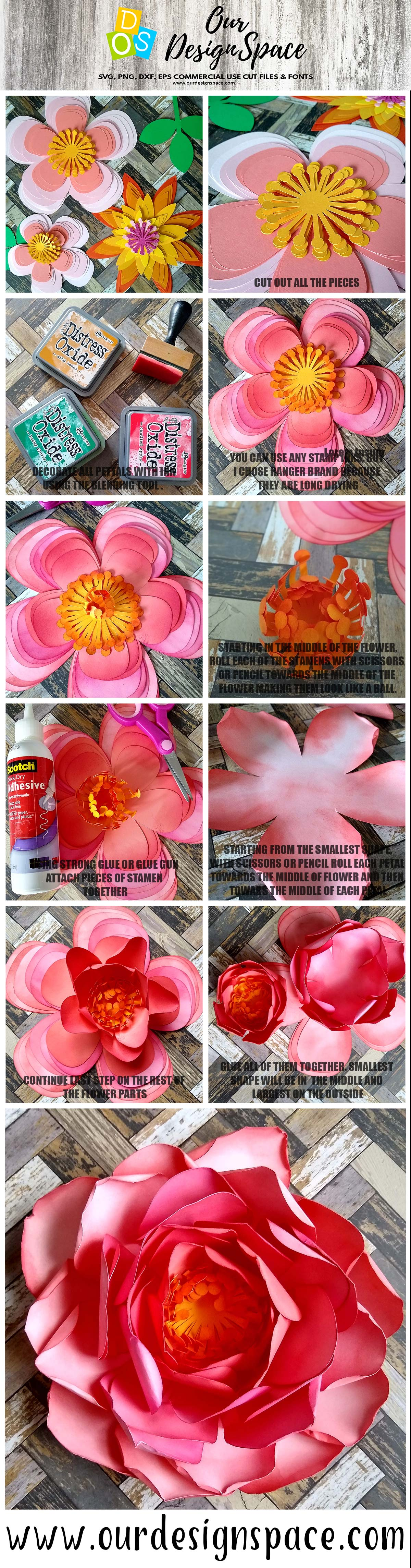 Rose & Dahlia 3D Paper Flowers SVG, DXF, EPS and PNG files example image 2