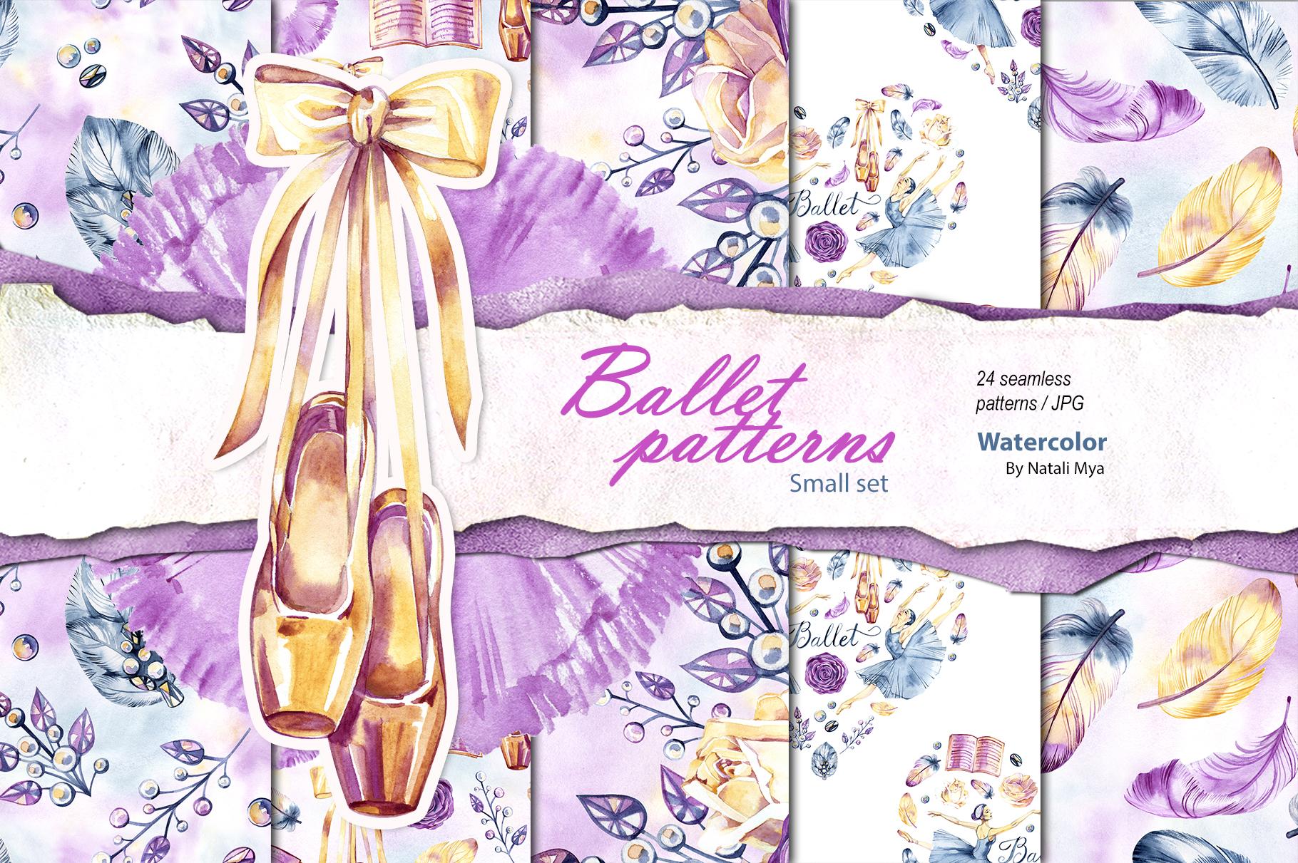 Watercolor ballet digital paper example image 1