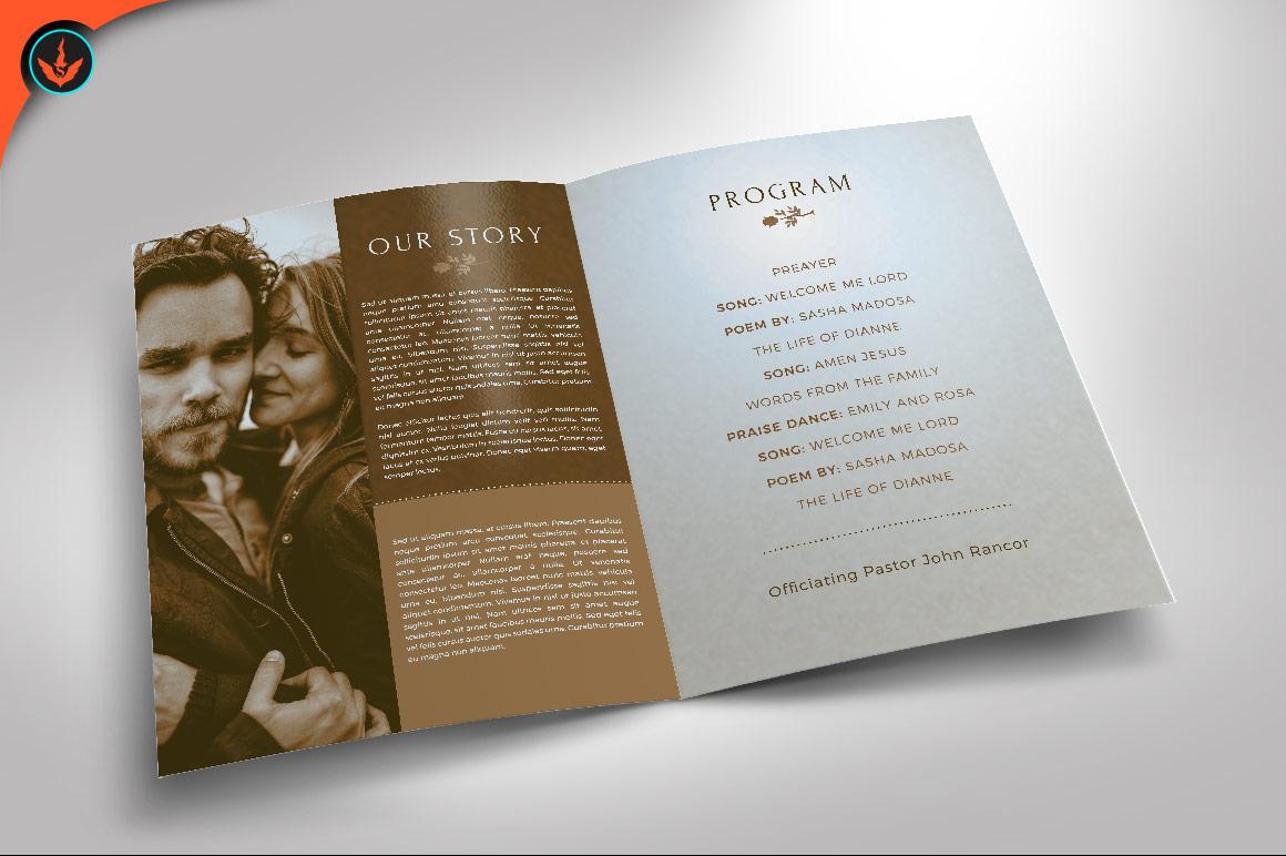Retro Wedding Program Photoshop Template example image 2