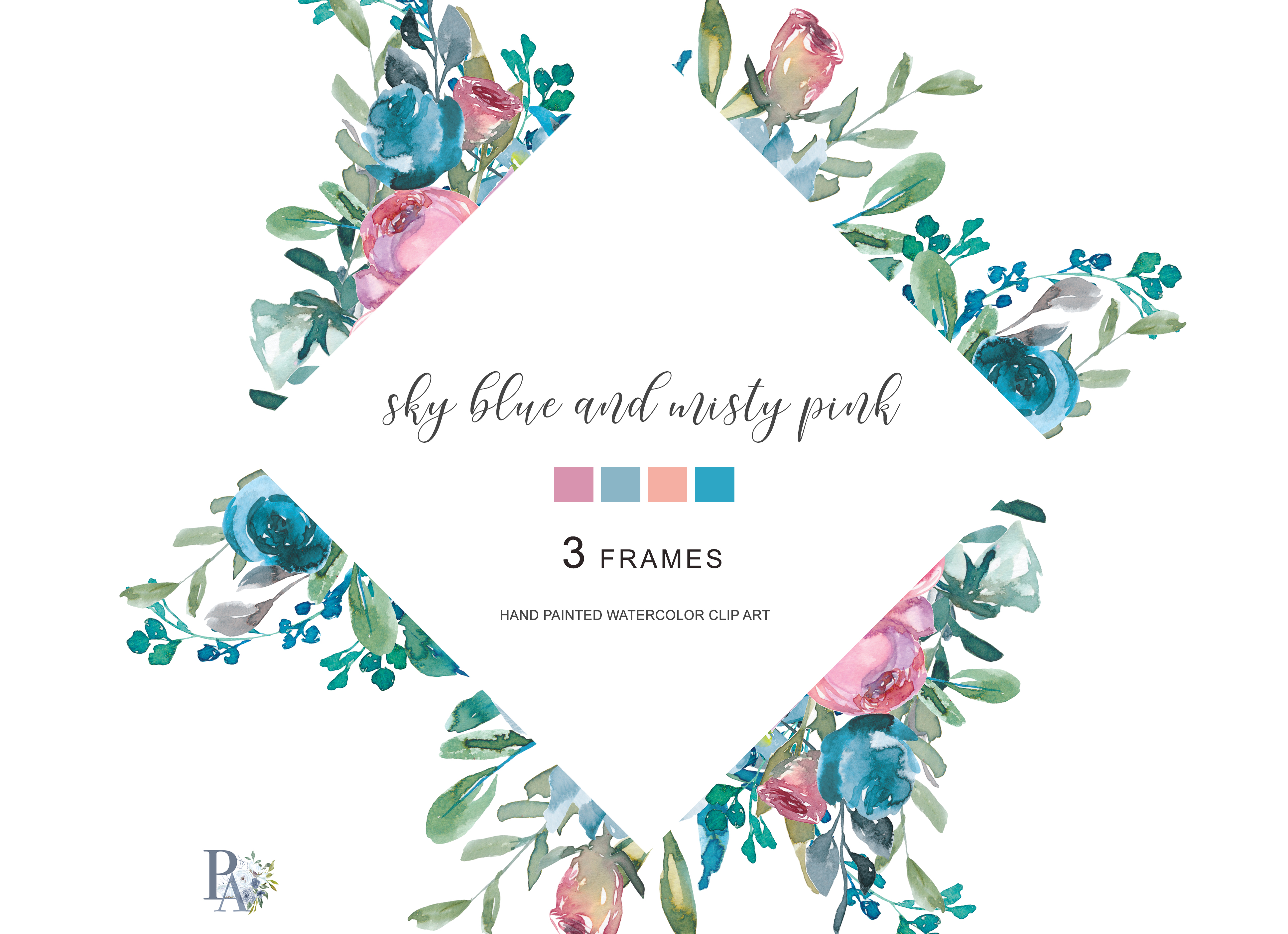Watercolor Floral Frames Hand Painted Watercolor