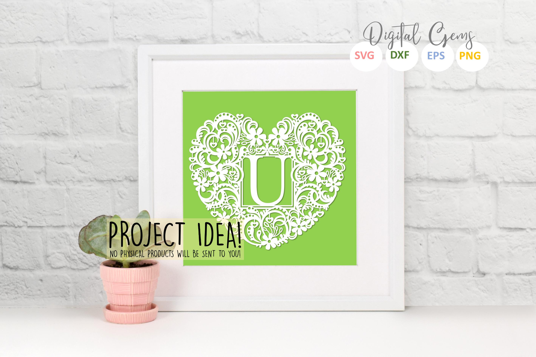 Letter U paper cut design. SVG / DXF / EPS / PNG files example image 2