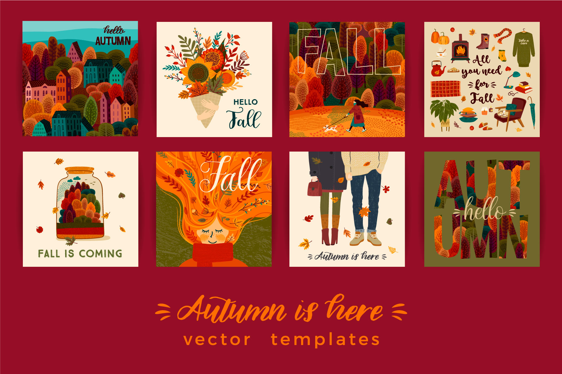 Autumn collection. Cards & patterns. example image 5