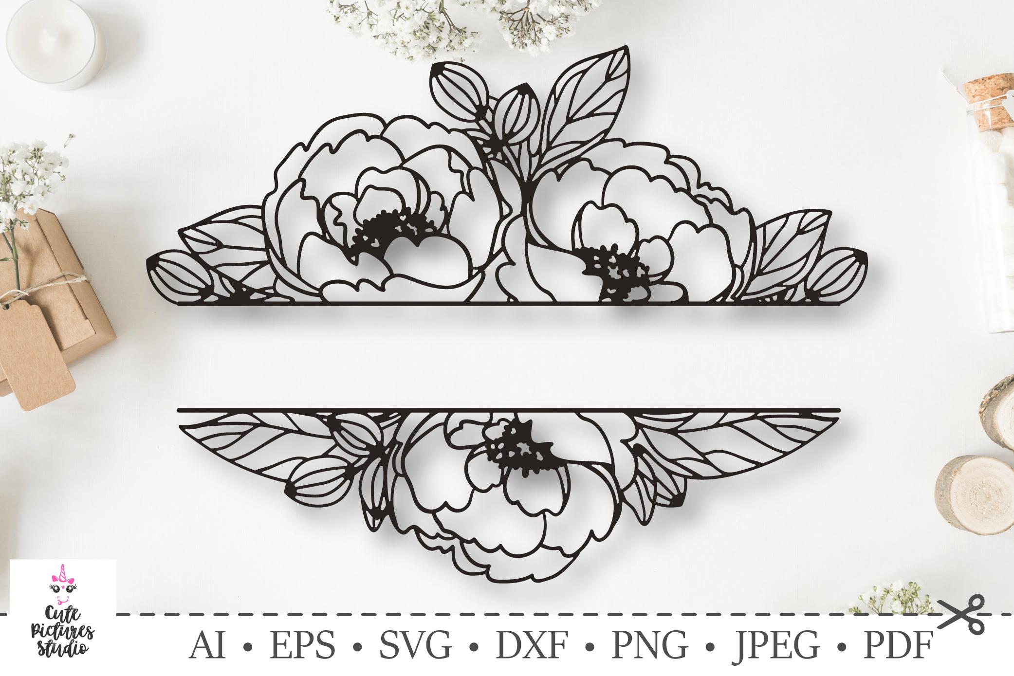 Flower Border Split Floral Border Frame SVG Cricut Silhouette cut file Lily svg Wedding svg Flower Frame SVG Flower Monogram SVG