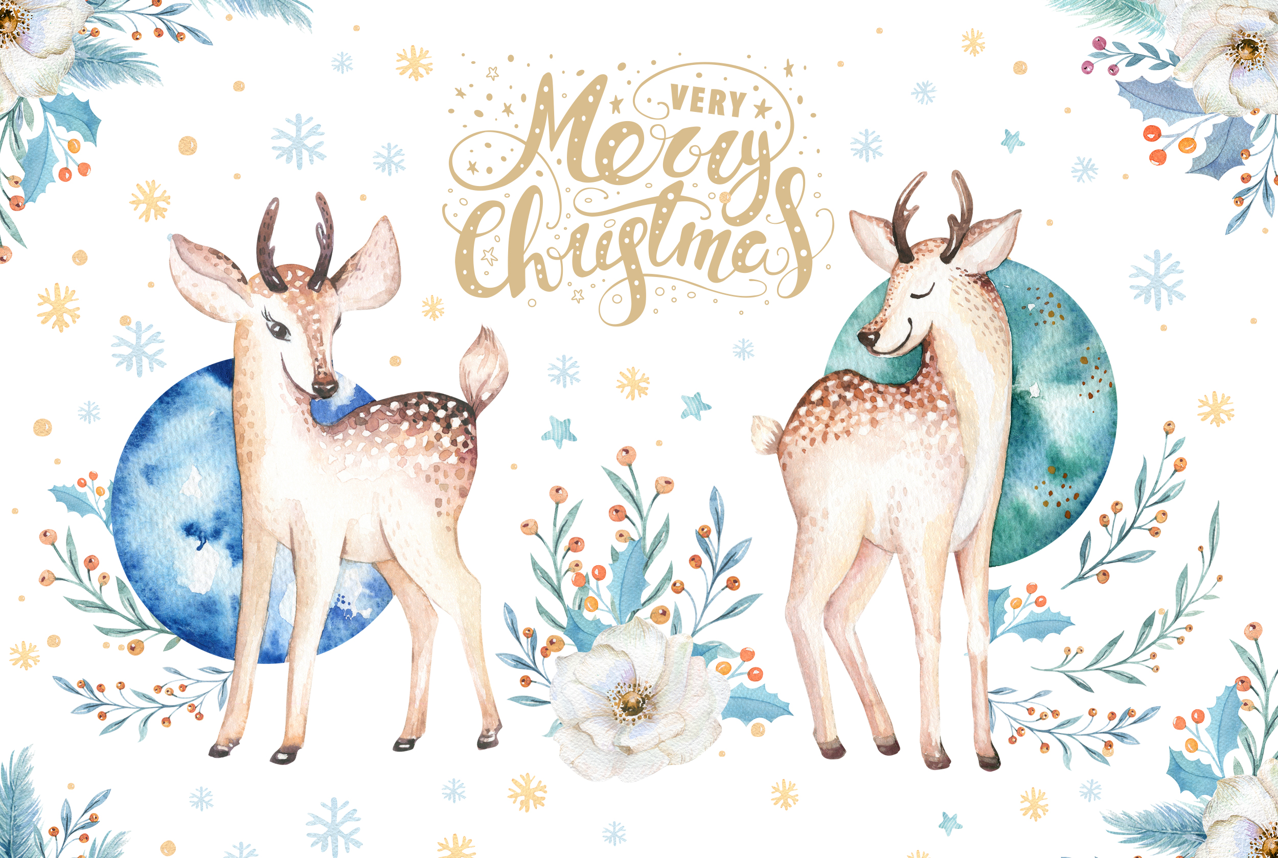 Watercolor Christmas deer example image 2