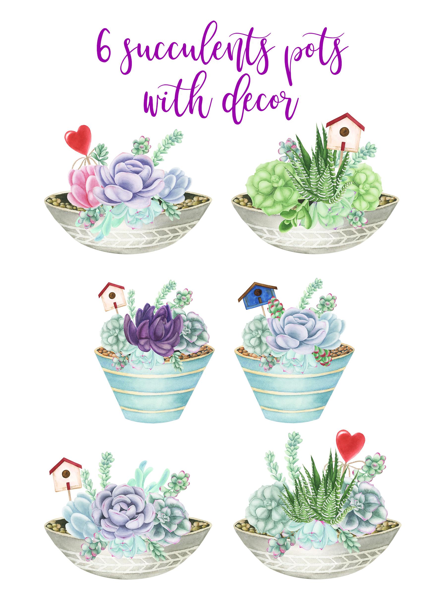 Watercolor Succulents Pots Clipart example image 4