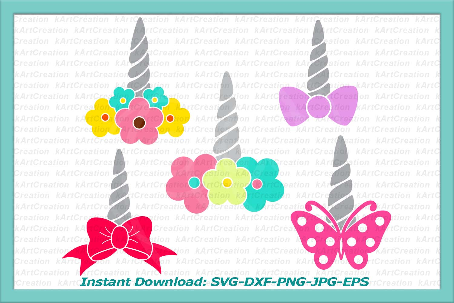 Unicorn face horn girl bundle svg dxf cutting files clipart example image 3
