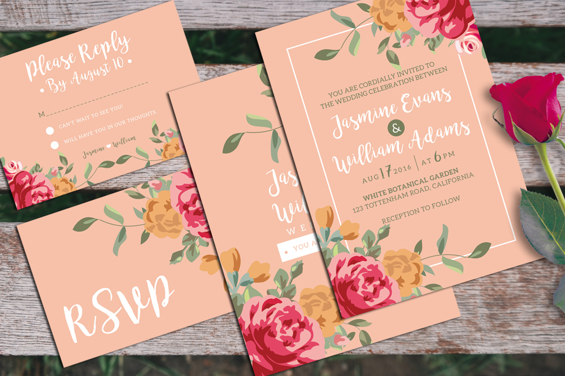 Floral Wedding Invitation + RSVP example image 1
