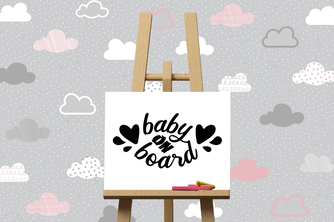 Pregnancy Announcement SVG Cut Files - Baby on Board example image 3