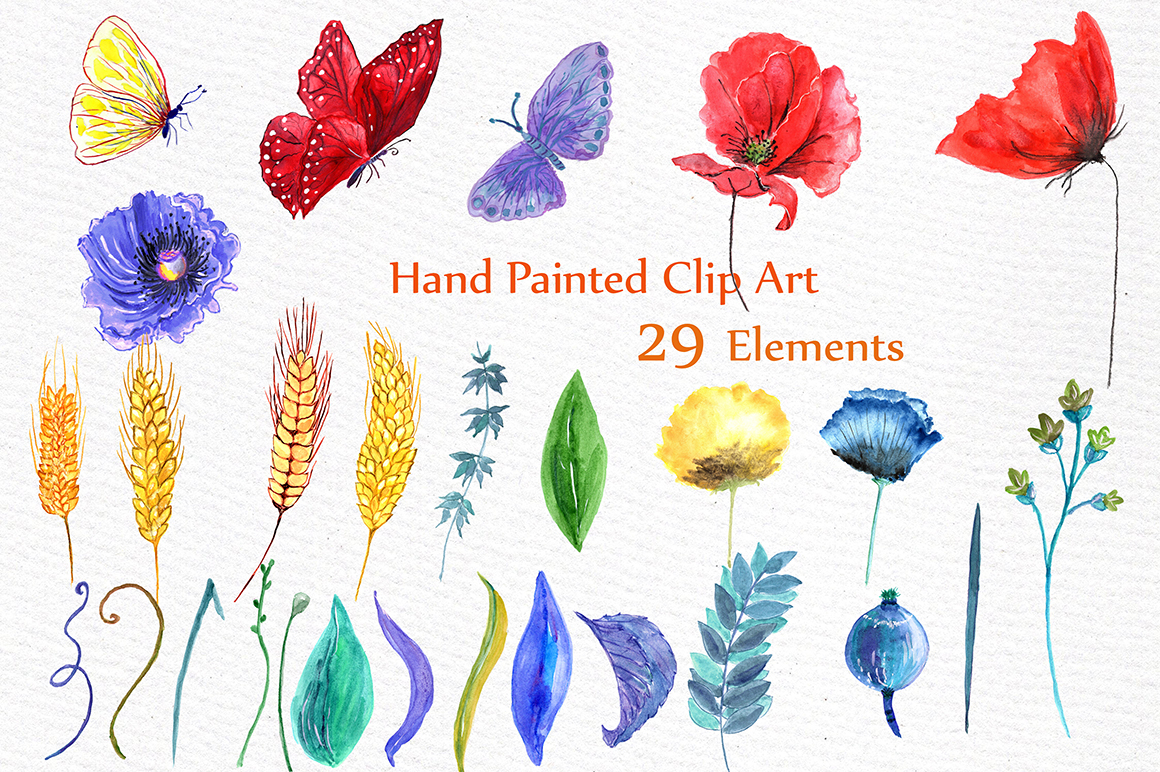 Watercolor poppies clipart example image 2