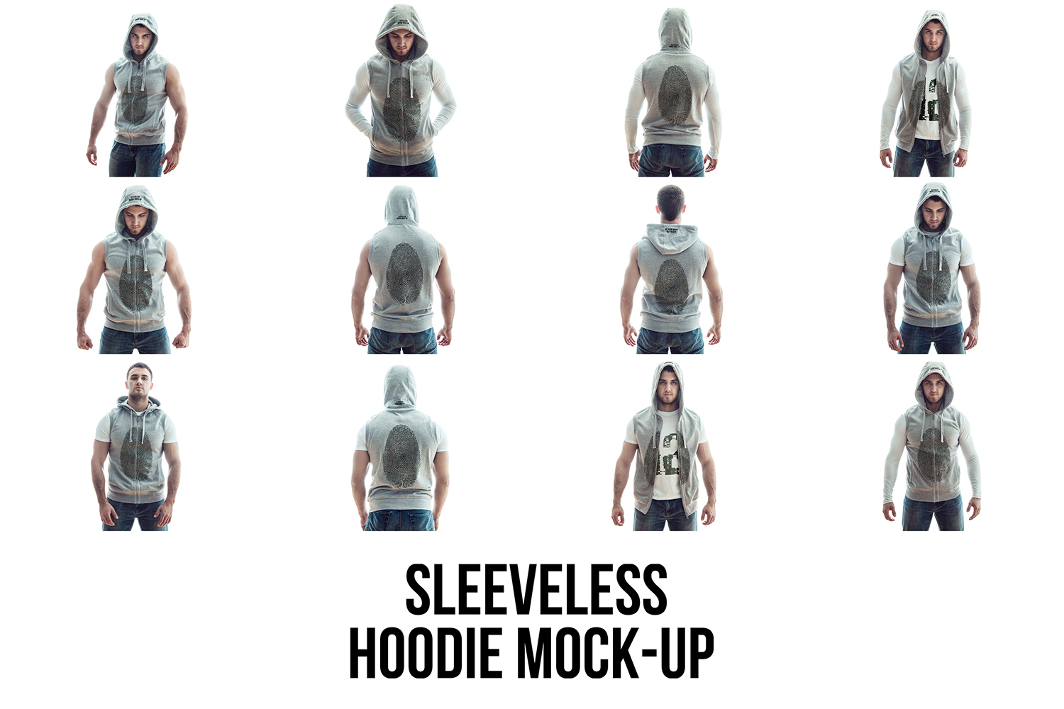 Sleeveless Hoodie Mock-Up example image 6