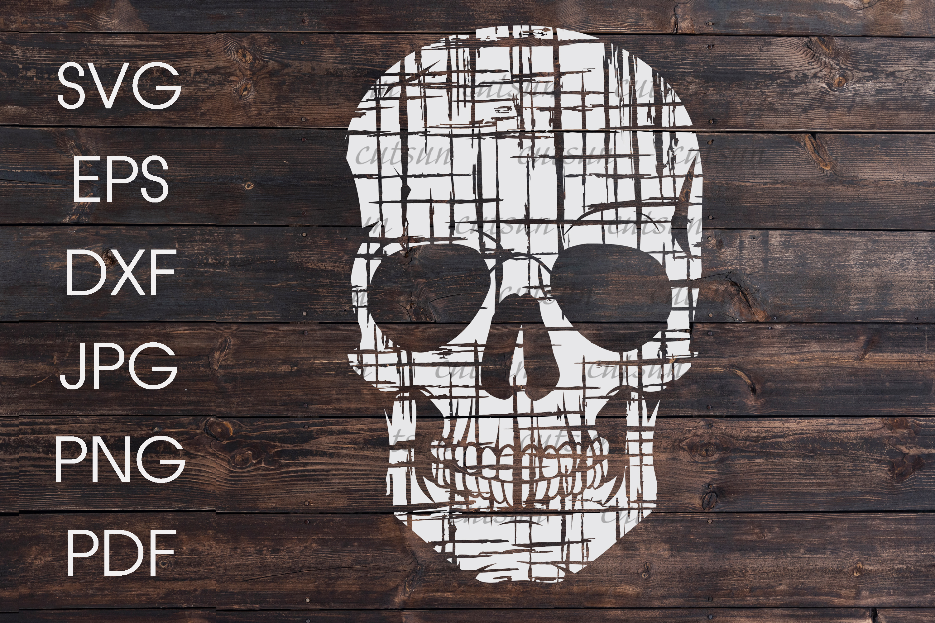 Distressed skull SVG example image 1