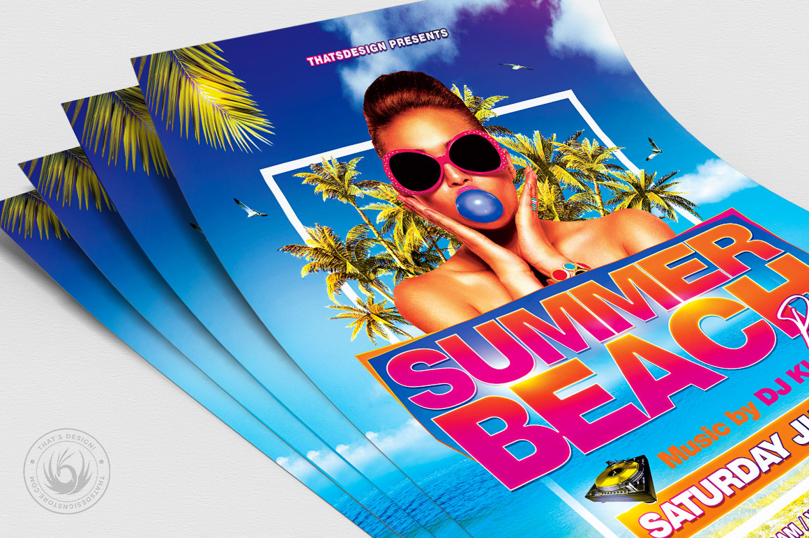Summer Beach Flyer Template V4 example image 5