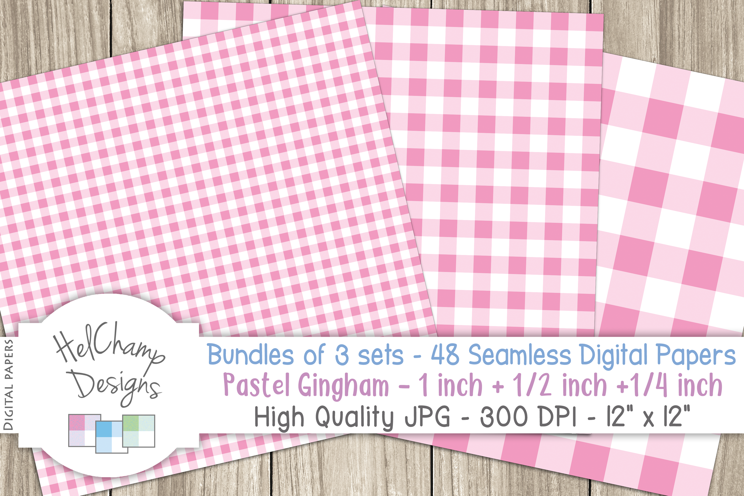 48 seamless Digital Papers - Pastel Gingham serie - DB001 example image 2