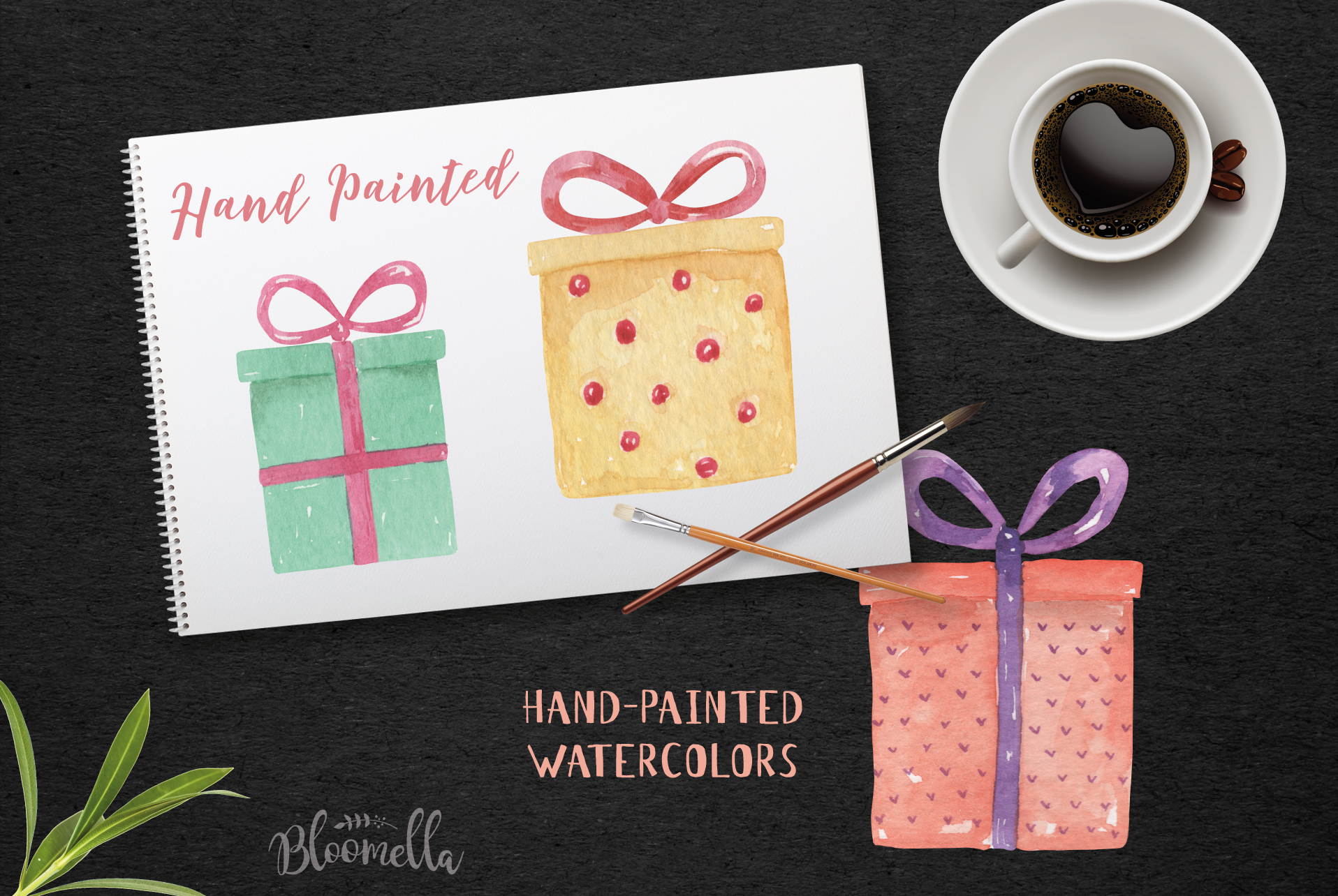 Watercolor Presents Gifts Clipart Elements Tags Banners Bows example image 7