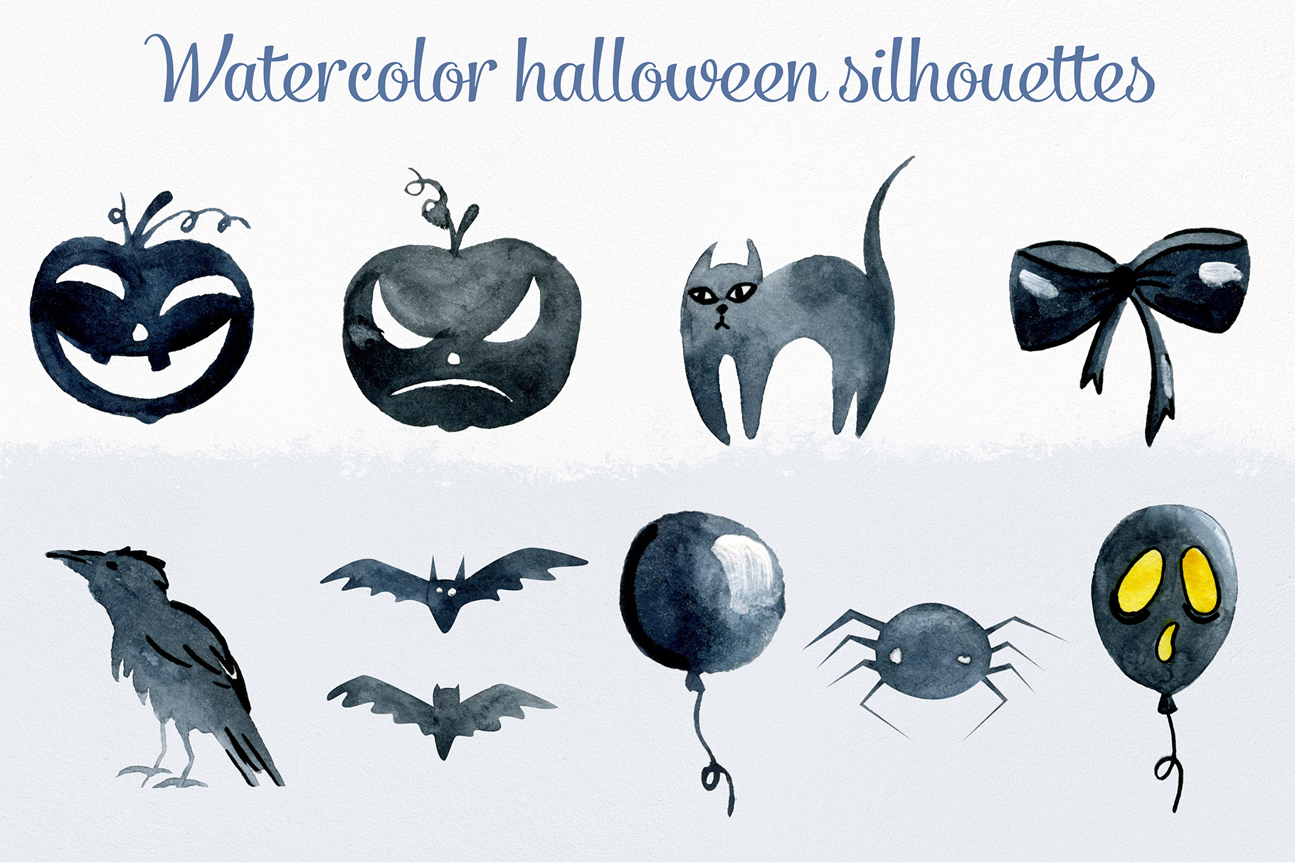 Watercolor halloween silhouettes example image 1