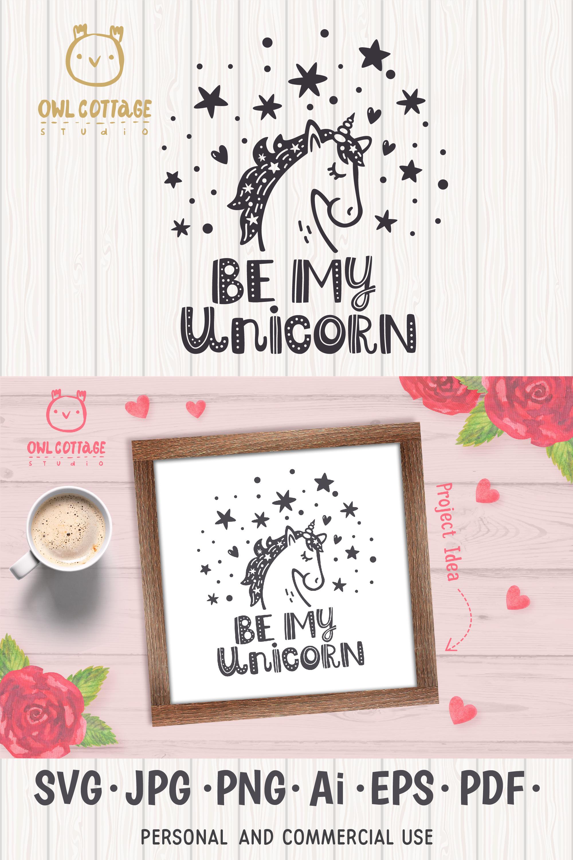 Valentine Unicorn Svg, Be My Unicorn Cut File, Valentines Da example image 17
