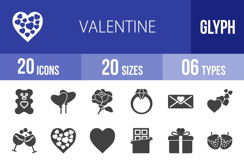 20 Valentine Glyph Icons example image 1