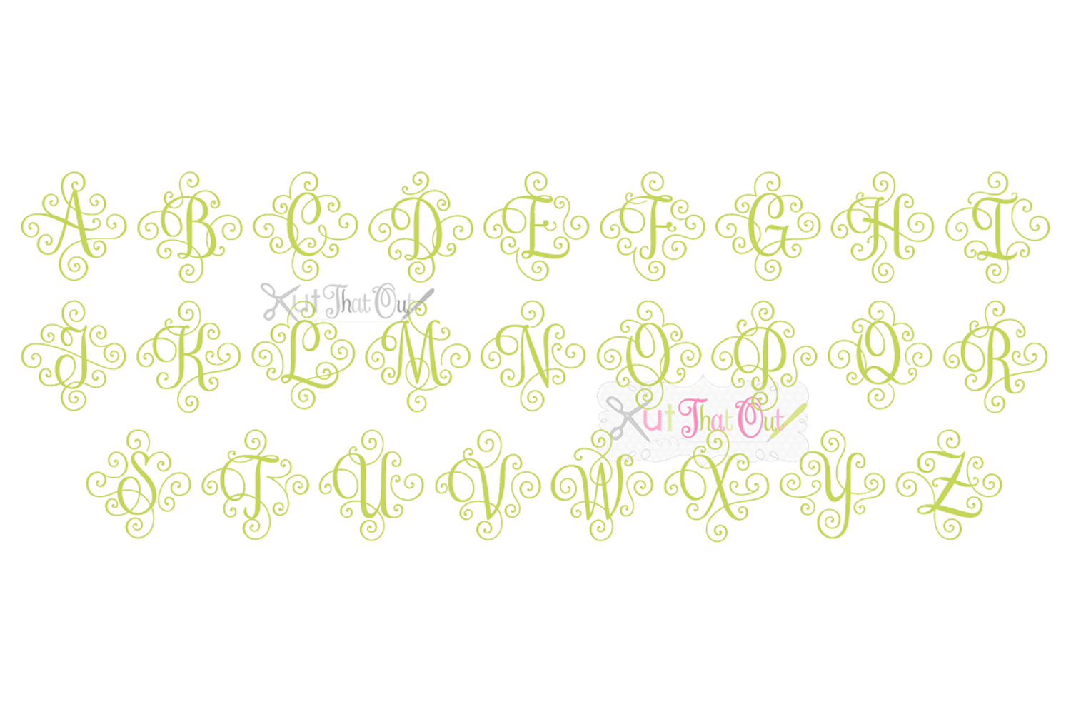 EXCLUSIVE Elegant Scroll Monogram Font SVG & DXF Cut File example image 3