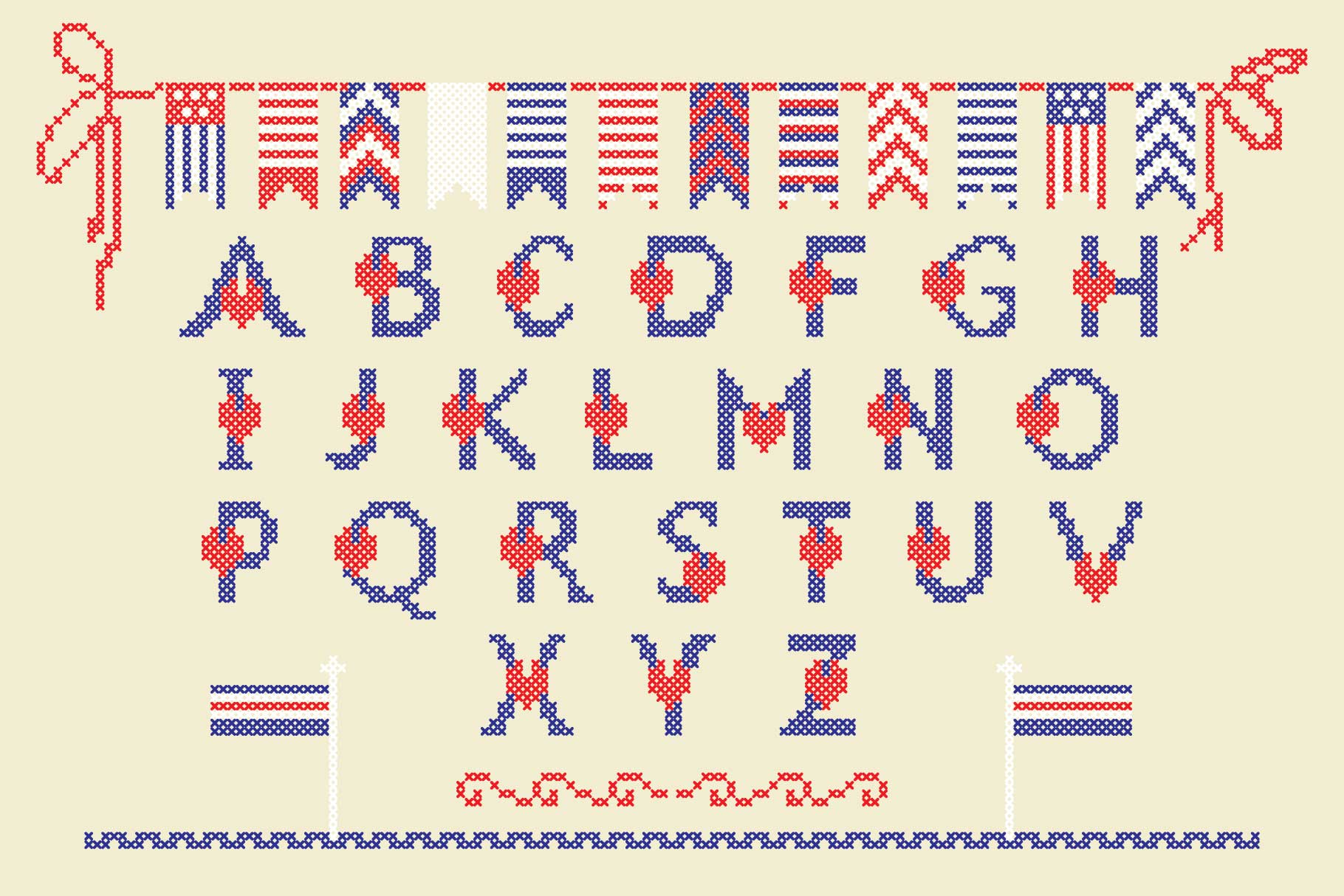 LOVELY-DAY-COLOR-CROSSSTICH OTF-SVG  multicolor font example image 5