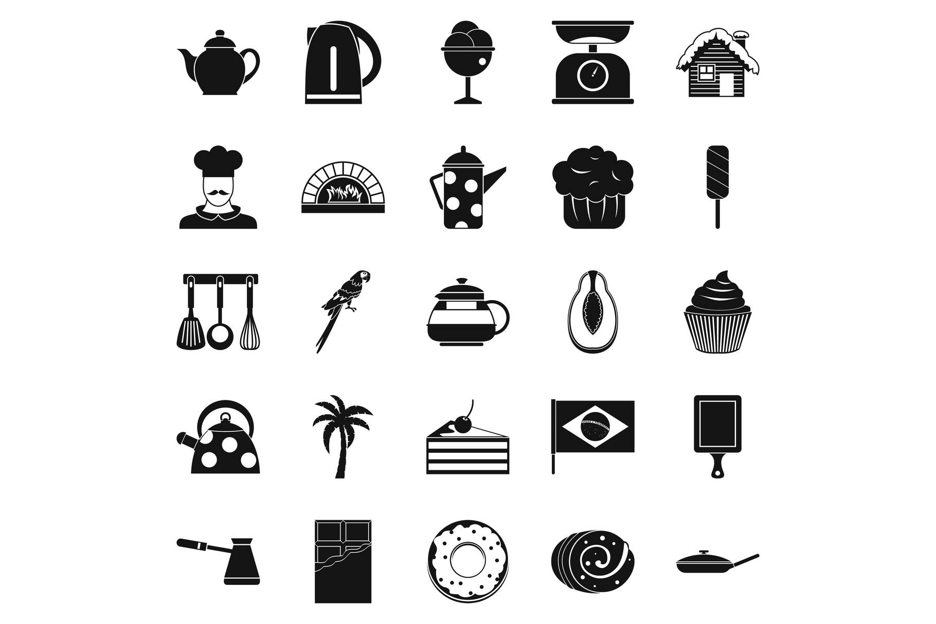 Tavern icons set, simple style example image 1