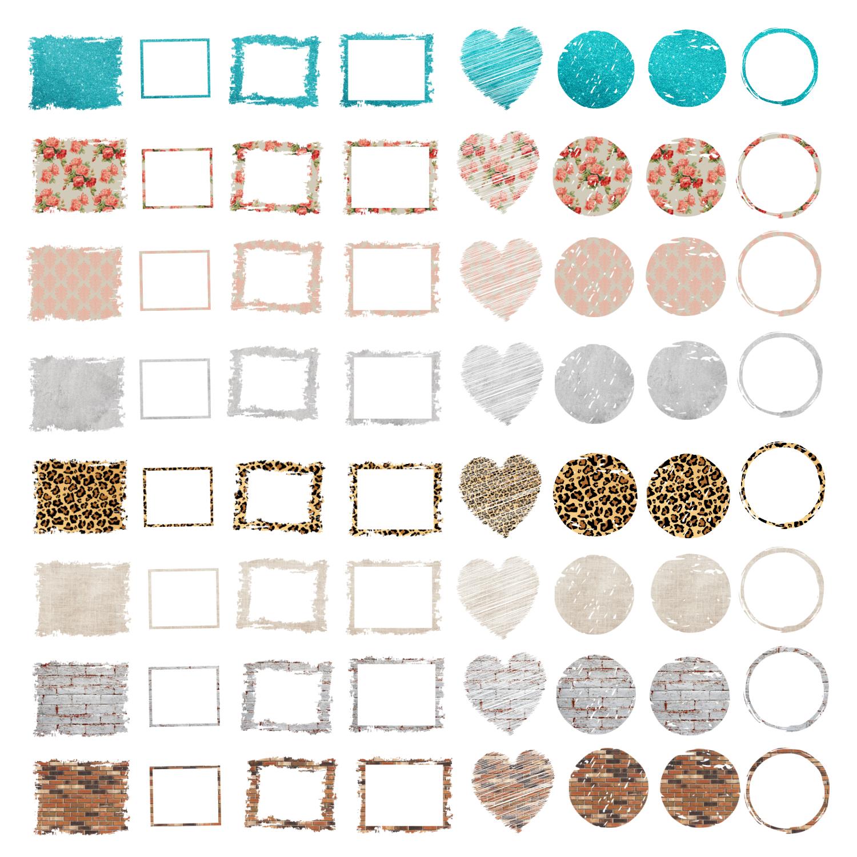 Backsplash Frames Bundle for Sublimation - 728 PNG Designs example image 3