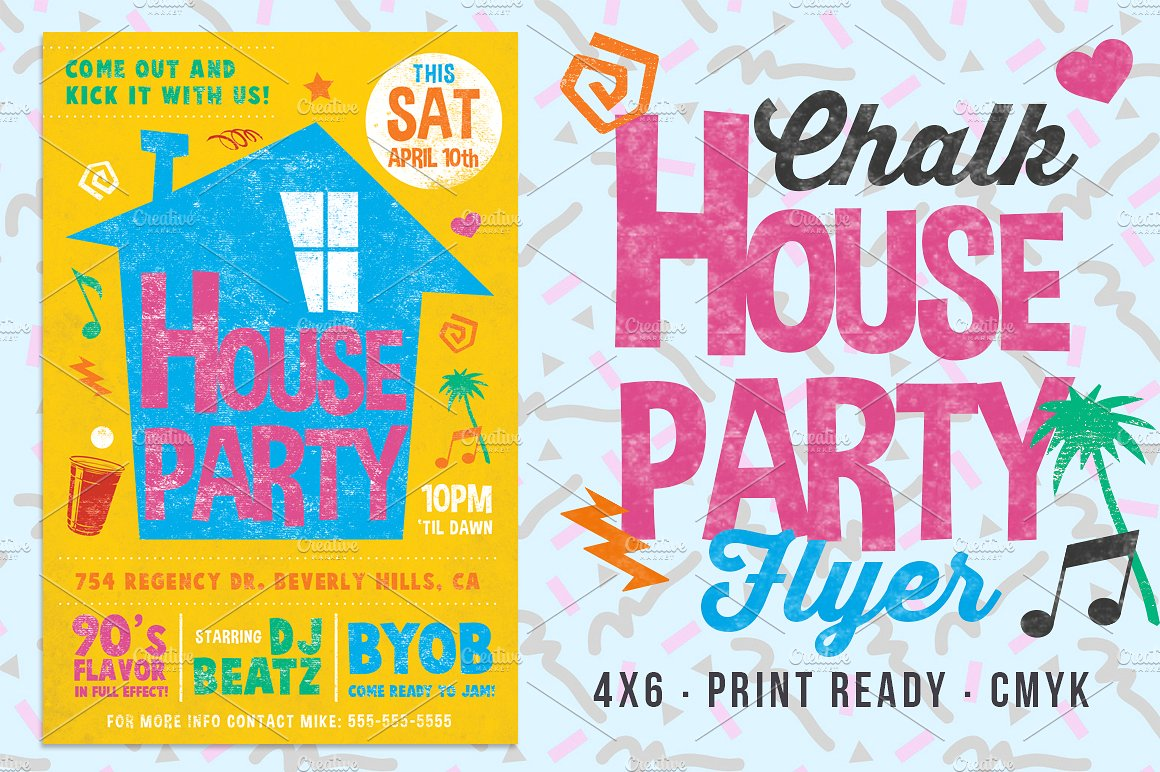 Chalk House Party 90's Retro Flyer Club College  example image 1
