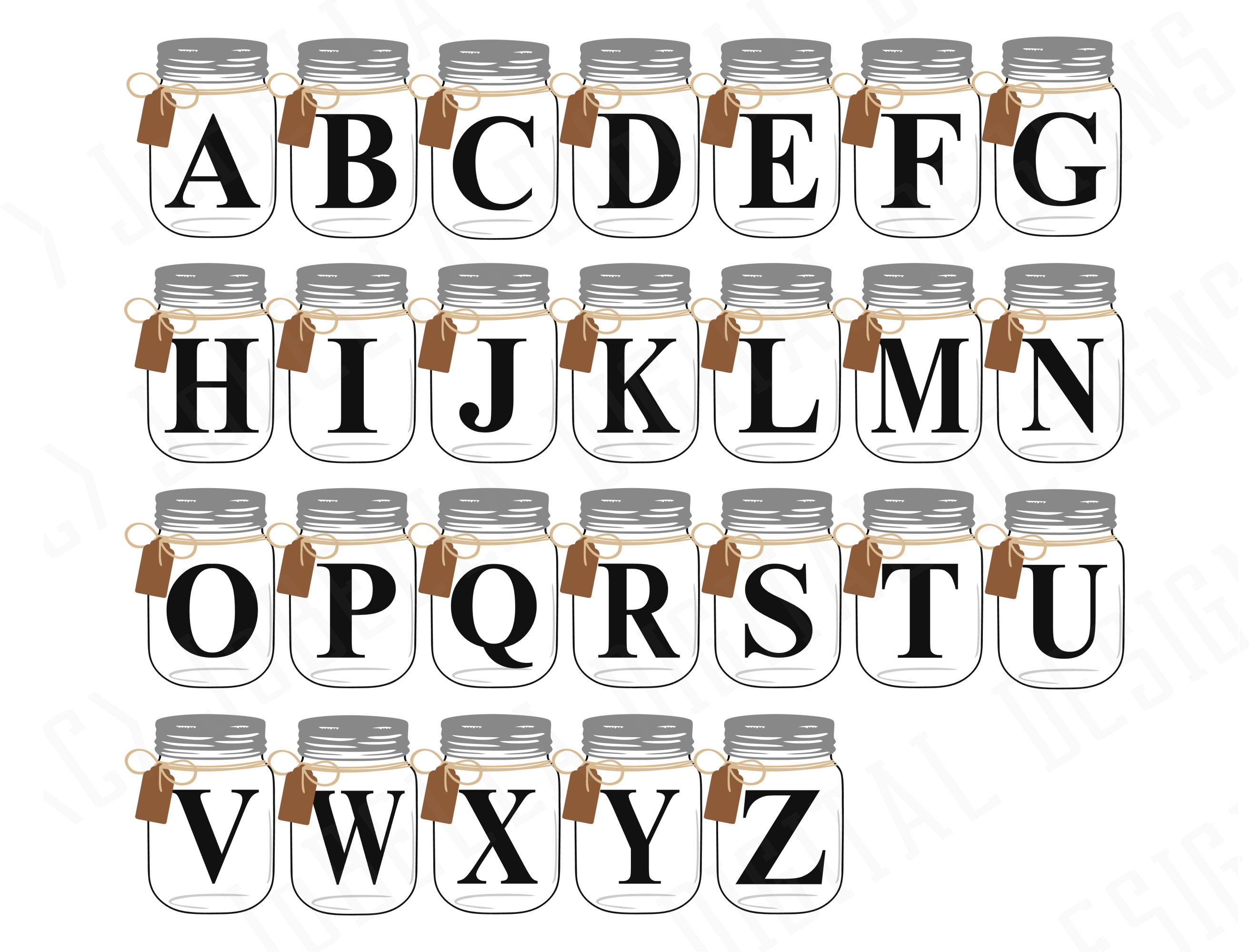 Farmhouse SVG Alphabet, Printables and Sublimation PNGs example image 4