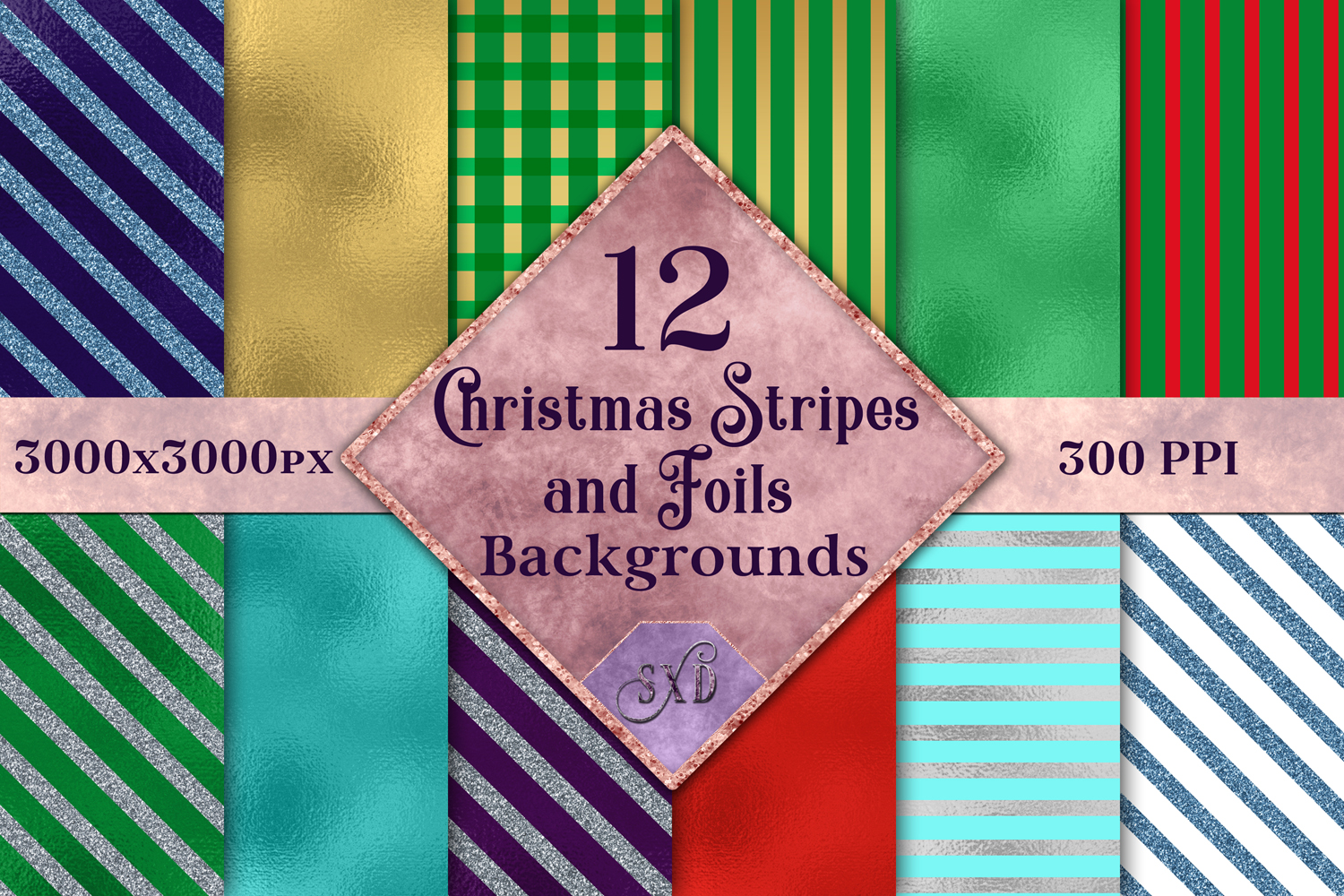 Christmas Stripes and Foils Backgrounds - 12 Image Set example image 1
