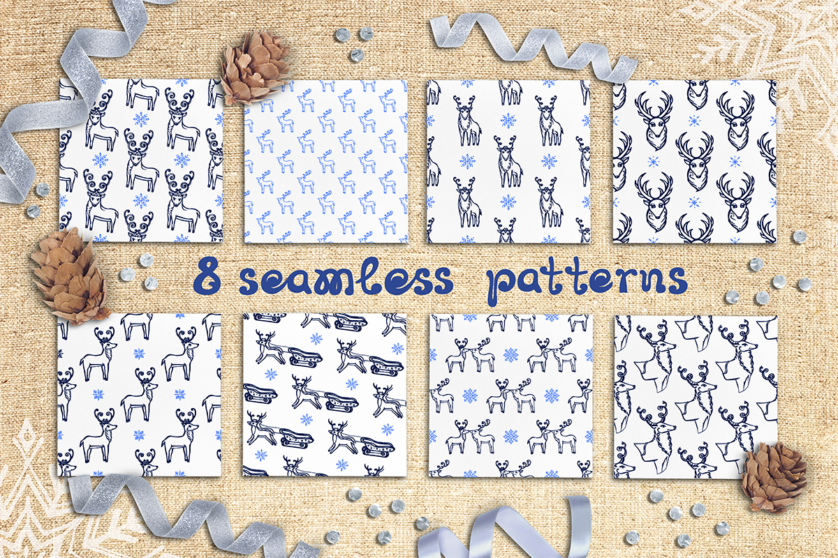 8 hand drawn seamless patterns with Christmas deer example image 1