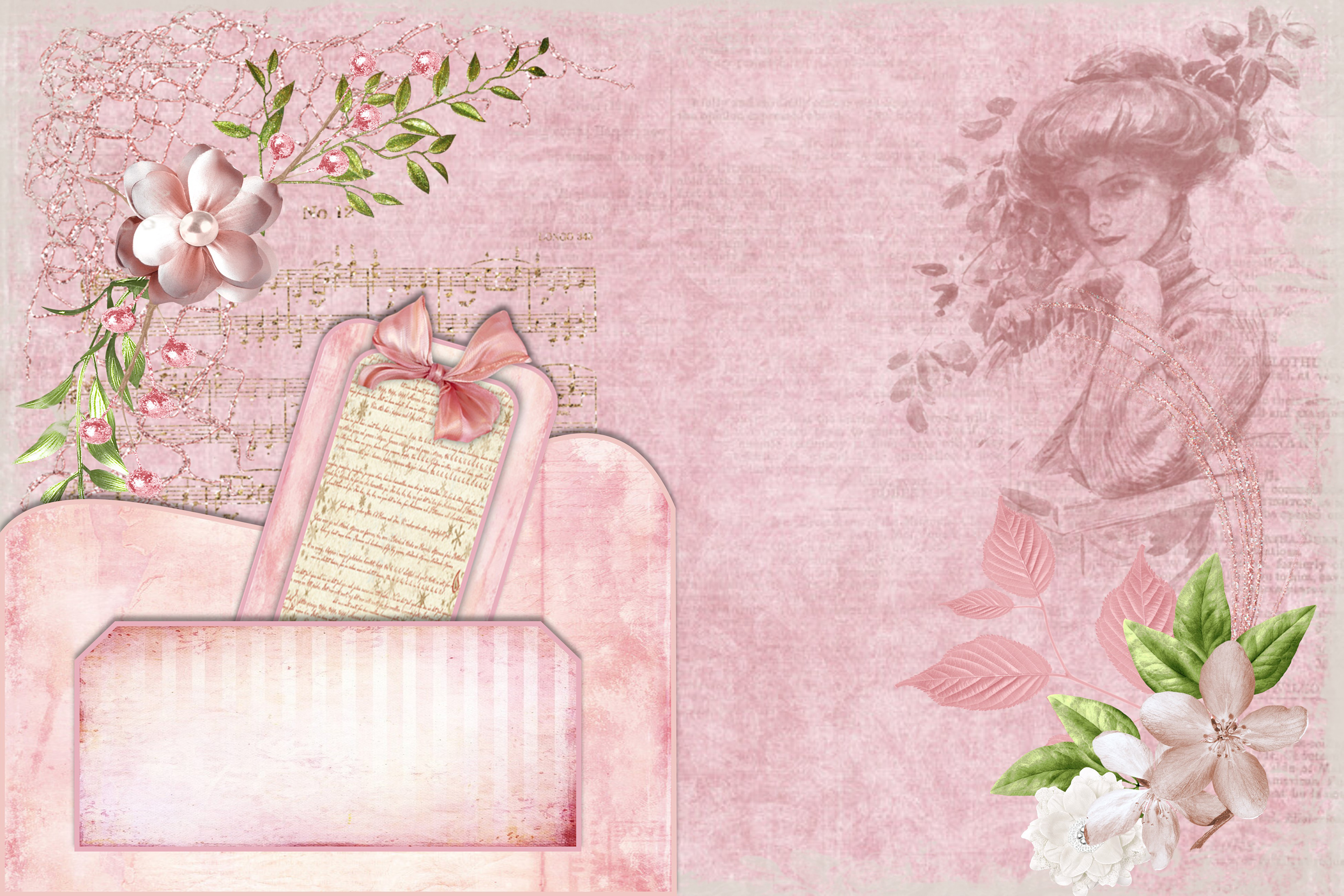 Shabby Chic Vintage backgrounds, Ephemera and Clipart Pmgs example image 2