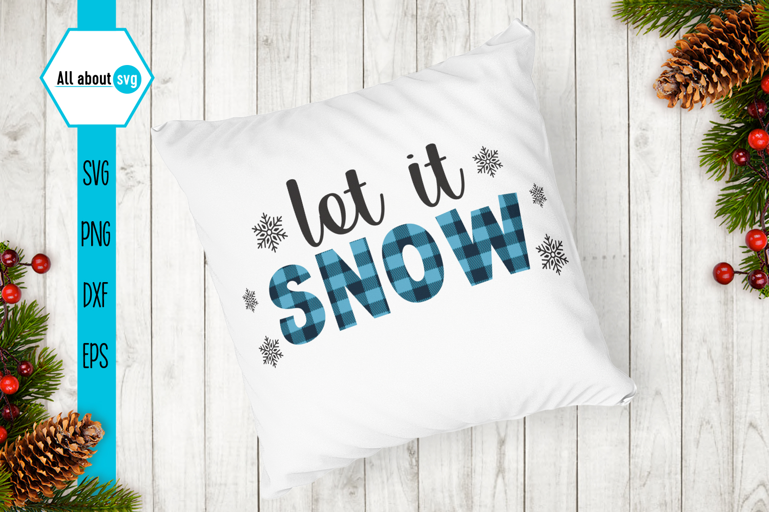 Let It Snow Buffalo Plaid Svg example image 4