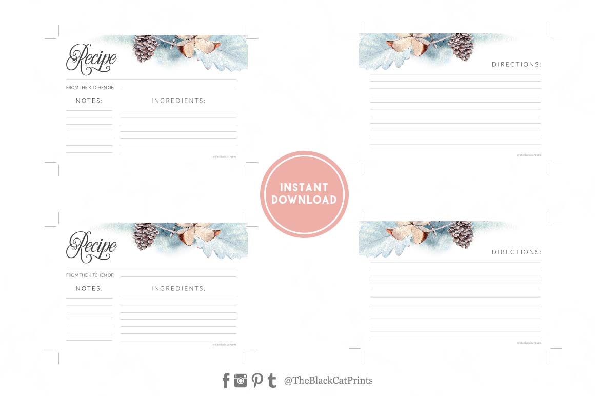 Winter Watercolor Recipe card | Printable | Double Sided example image 3