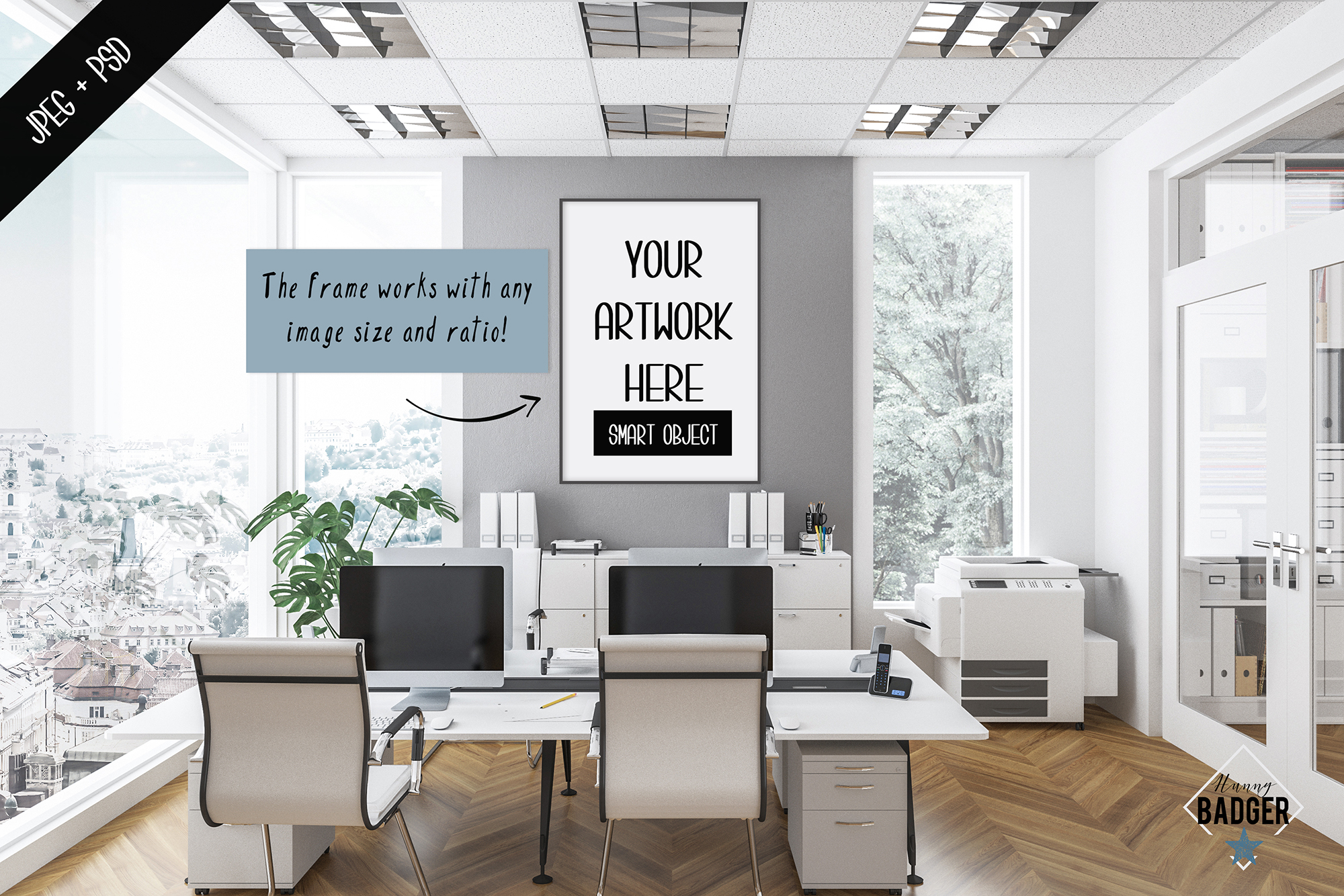 Office interior mockup - frame & wall mockup creator example image 2