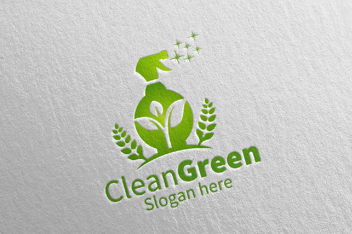 Cleaning Service Logo Eco Friendly example image 3