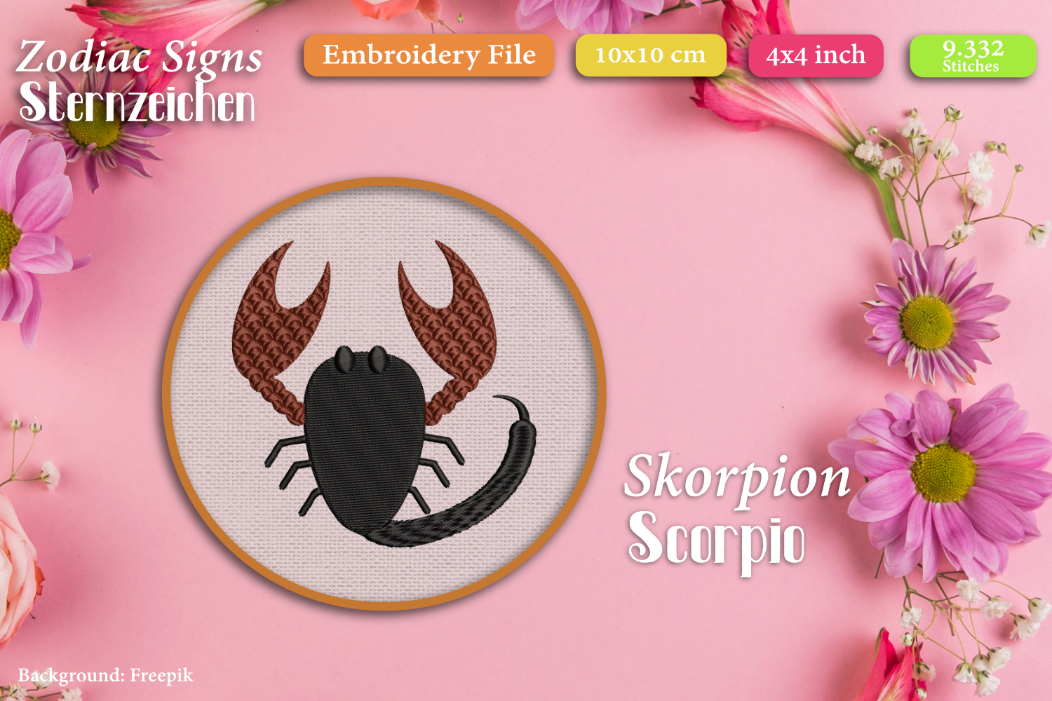 Zodiac signs - Embroidery Files - Bundle example image 12